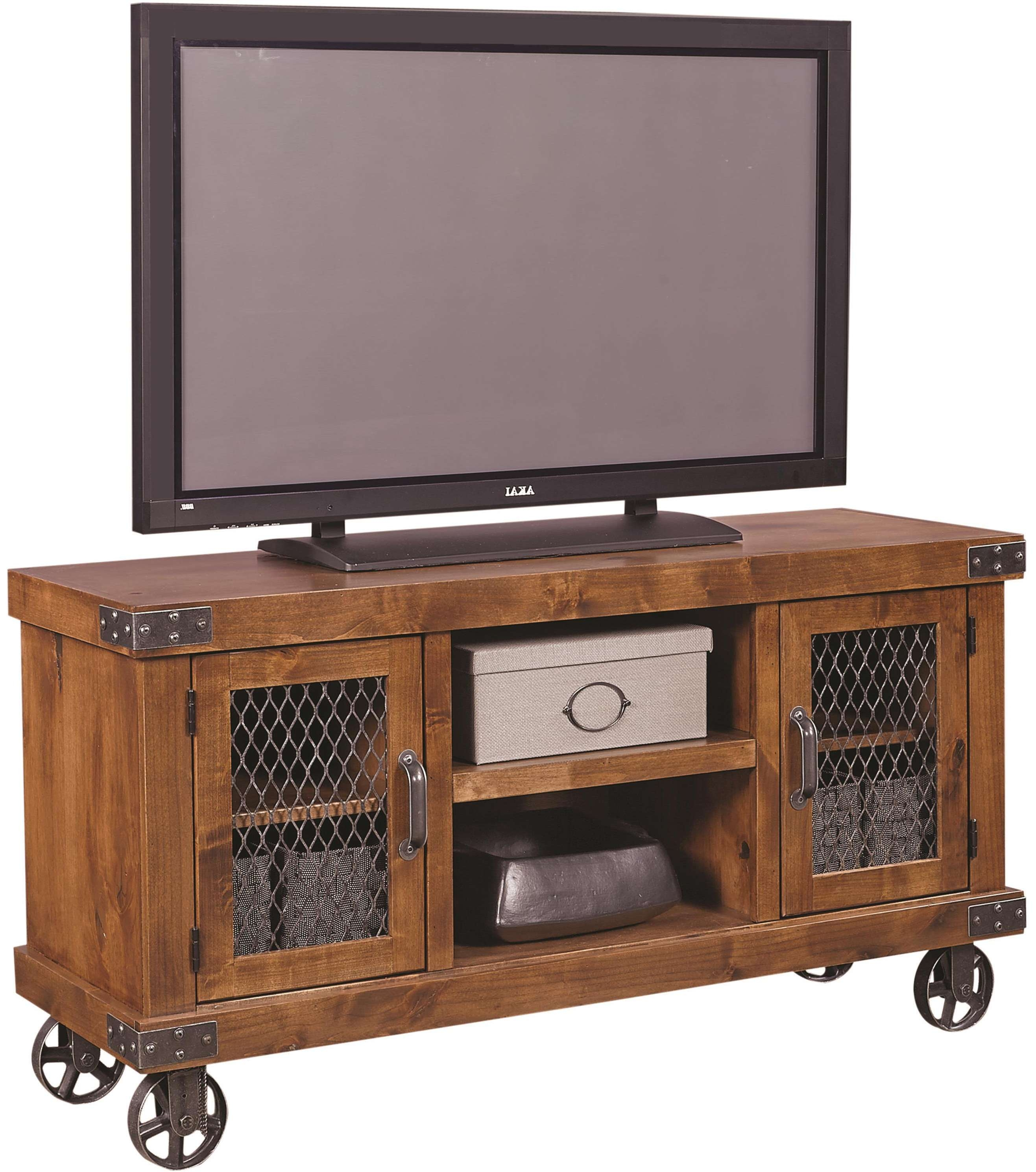 "Aspenhome Industrial 55"" Console With Metal Casters 