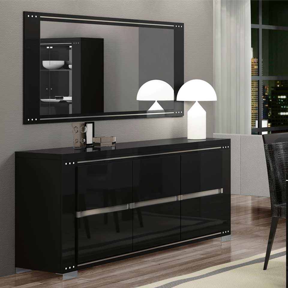 Ath Armonia Diamond Black Modern Buffet And Vetrine With Regard To Black Dining Room Sideboards (View 1 of 20)