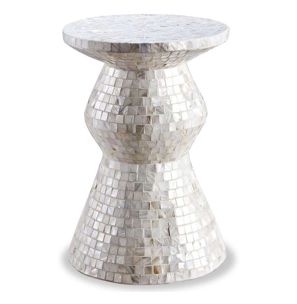 Augustine Modern Mother Of Pearl Side Accent Stool Table (View 1 of 20)
