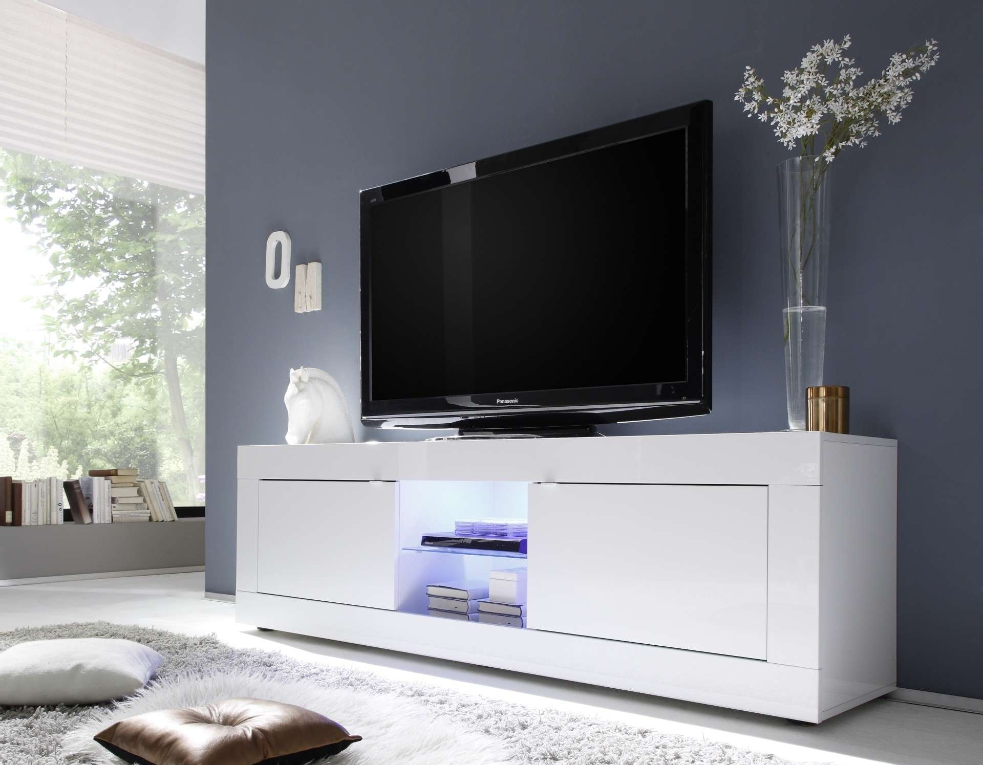 Avanti Ii Gloss Tv Stand With Rgb Lights – Tv Stands – Sena Home In Cream High Gloss Tv Cabinets (View 2 of 20)