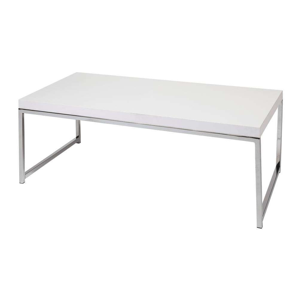 Ave Six Wall Street White And Chrome Coffee Table Wst12 Wh – The Regarding Recent White And Chrome Coffee Tables (View 19 of 20)