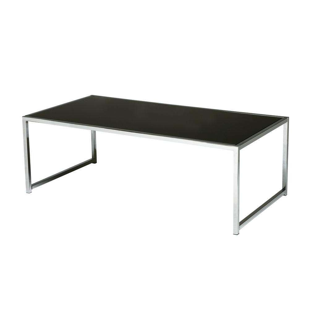 Ave Six Yield Chrome And Black Glass Coffee Table Yld12 – The Home Pertaining To Well Known Dark Glass Coffee Tables (View 2 of 20)