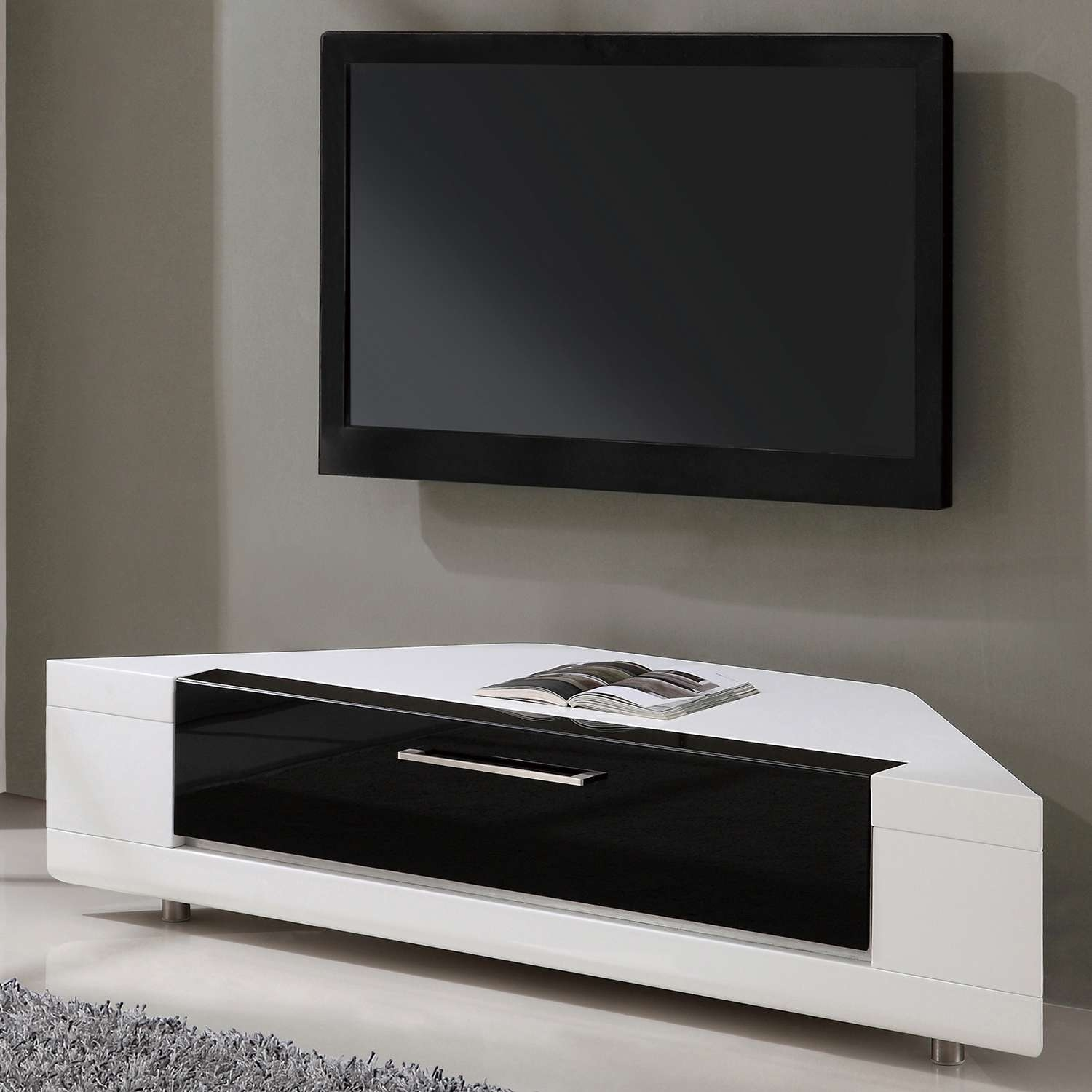 "B Modern Bm 634 Wht Editor Remix 60"" Corner Tv Stand In White High Regarding High Gloss Tv Cabinets (View 1 of 20)"