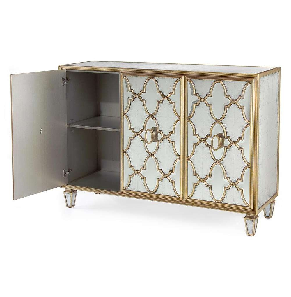 Babette Hollywood Regency Silver Leaf Mirrored Gold Lattice For Gold Sideboards (Gallery 4 of 20)