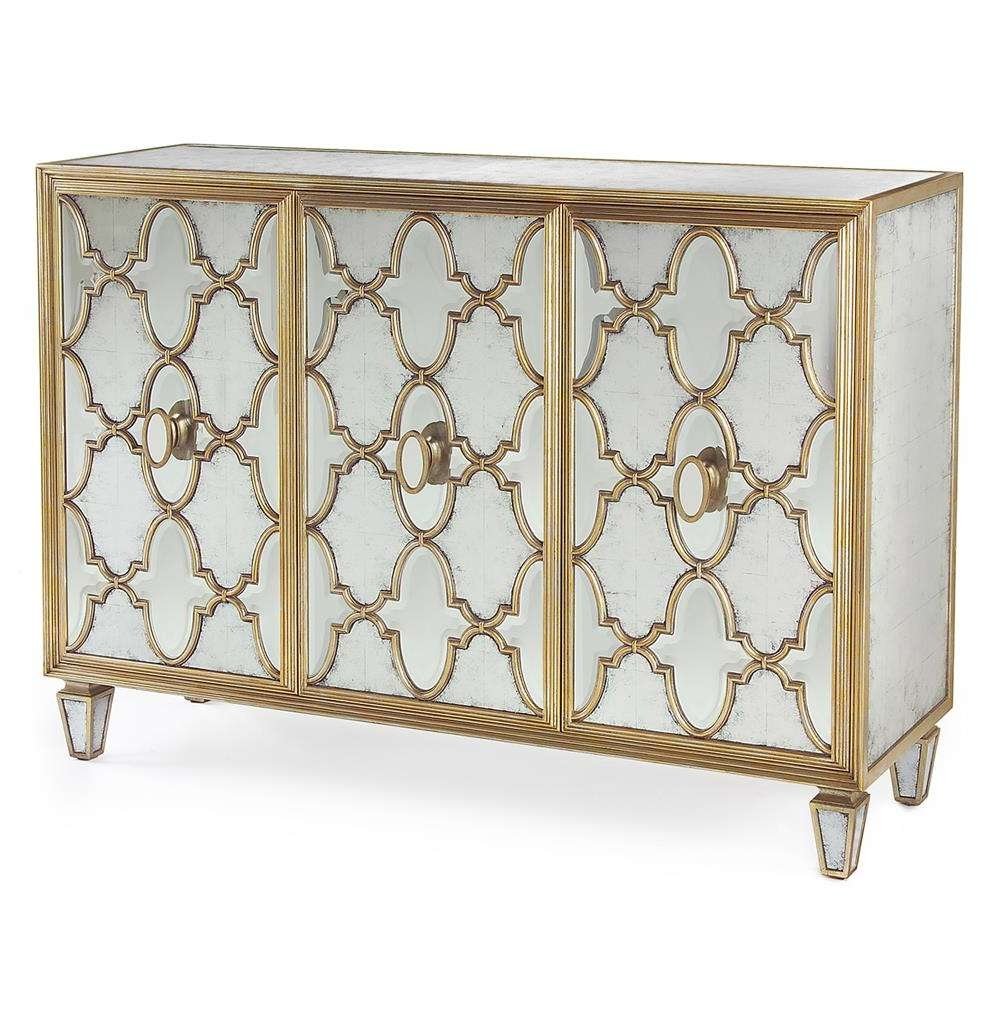 Babette Hollywood Regency Silver Leaf Mirrored Gold Lattice Throughout Mirrored Sideboards (View 9 of 20)