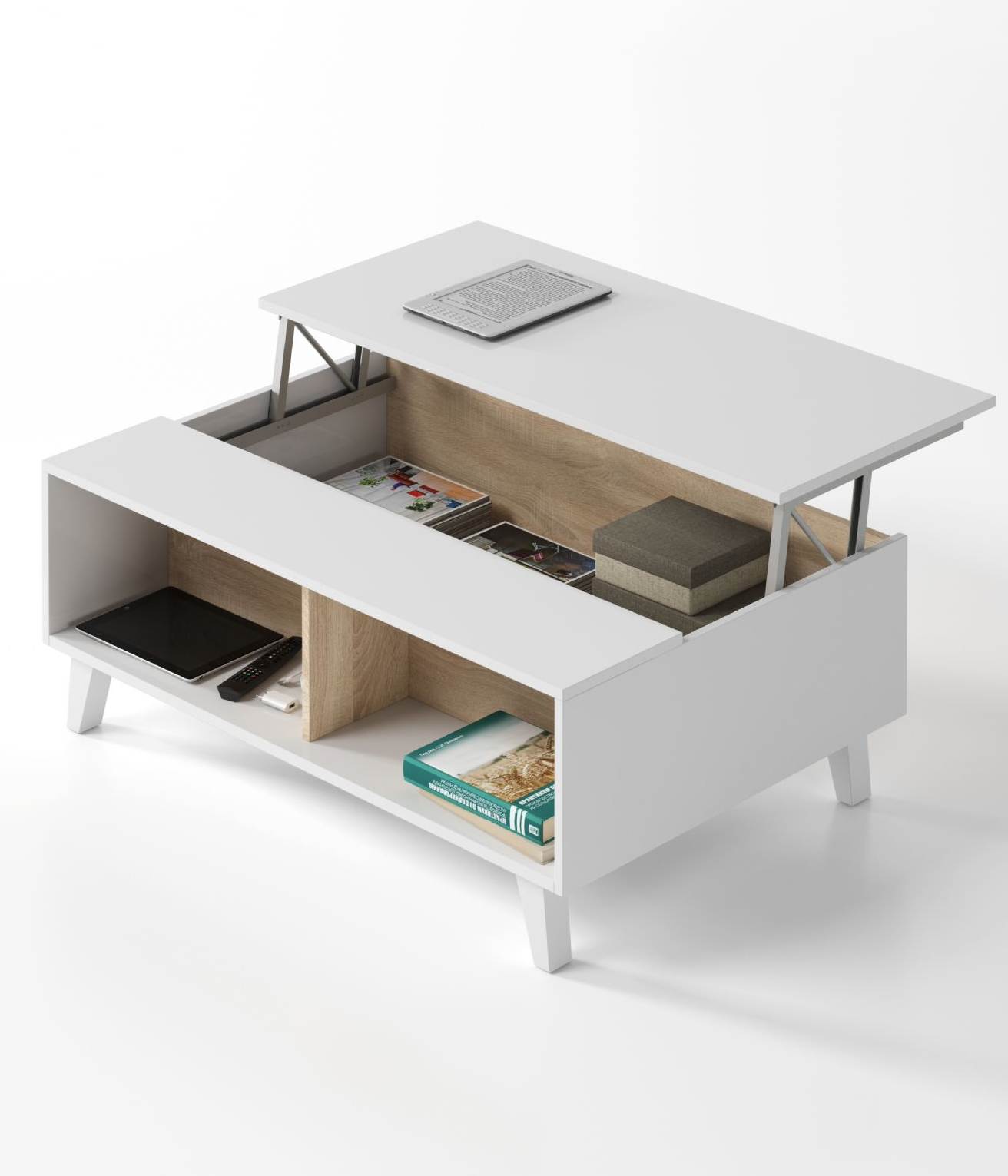 Bari Storage Coffee Table Soft White Gloss With Oak Effect Pertaining To Most Recently Released Oak Storage Coffee Tables (View 16 of 20)