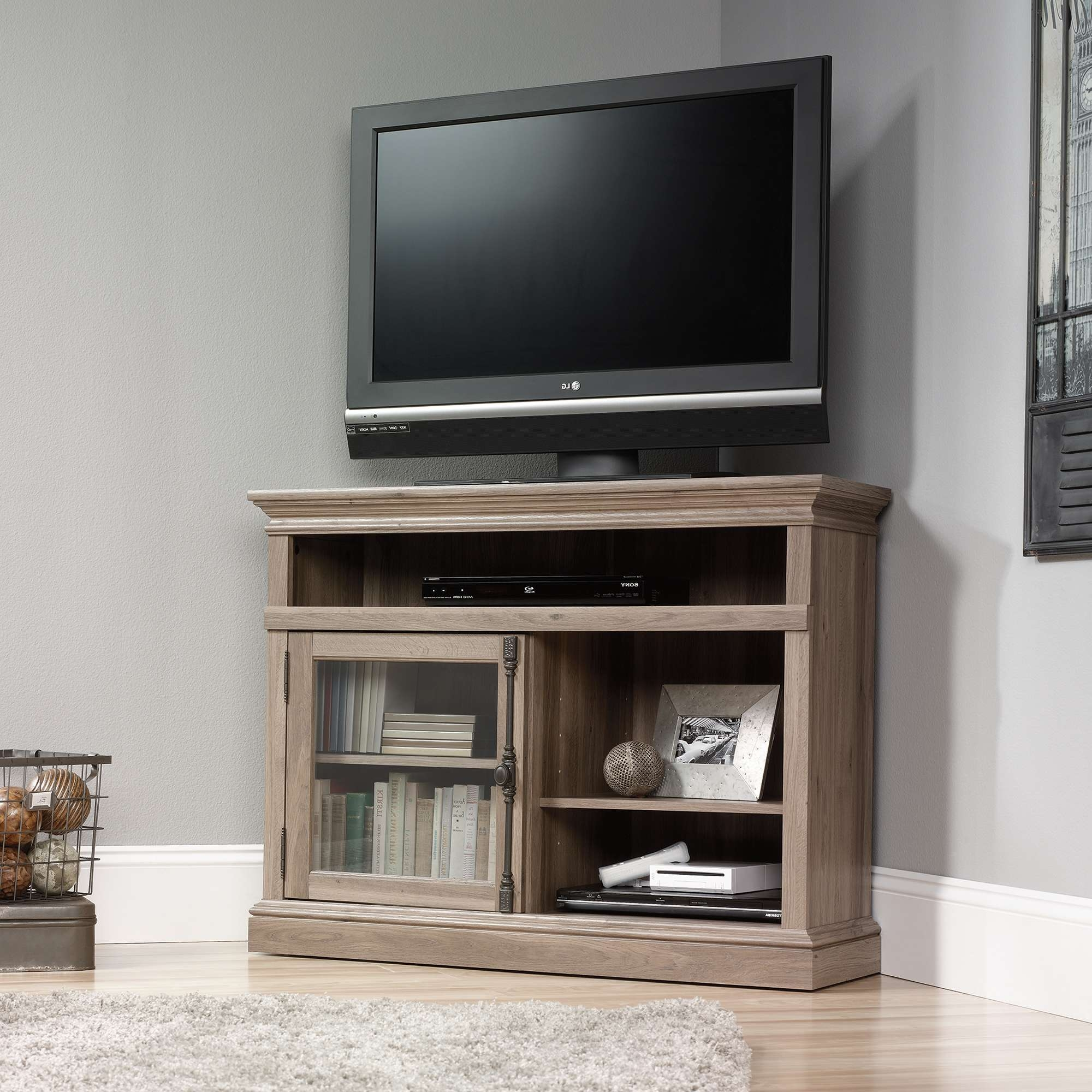 Barrister Lane | Corner Tv Stand | 414729 | Sauder Within Small Corner Tv Cabinets (View 1 of 20)