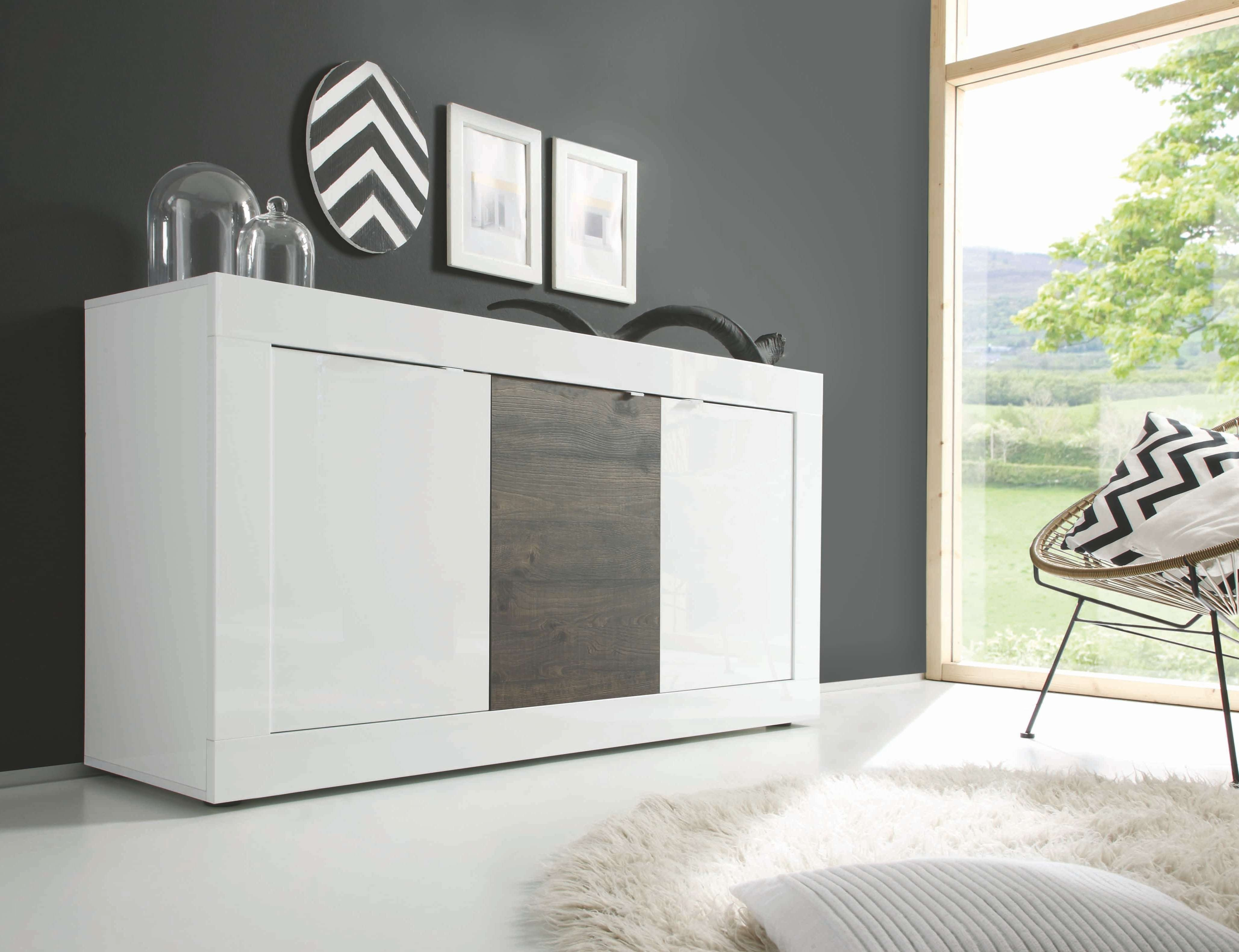 Basic 3 Door Sideboard, White + Wenge Buy Online At Best Price Pertaining To Wenge Sideboards (View 7 of 20)