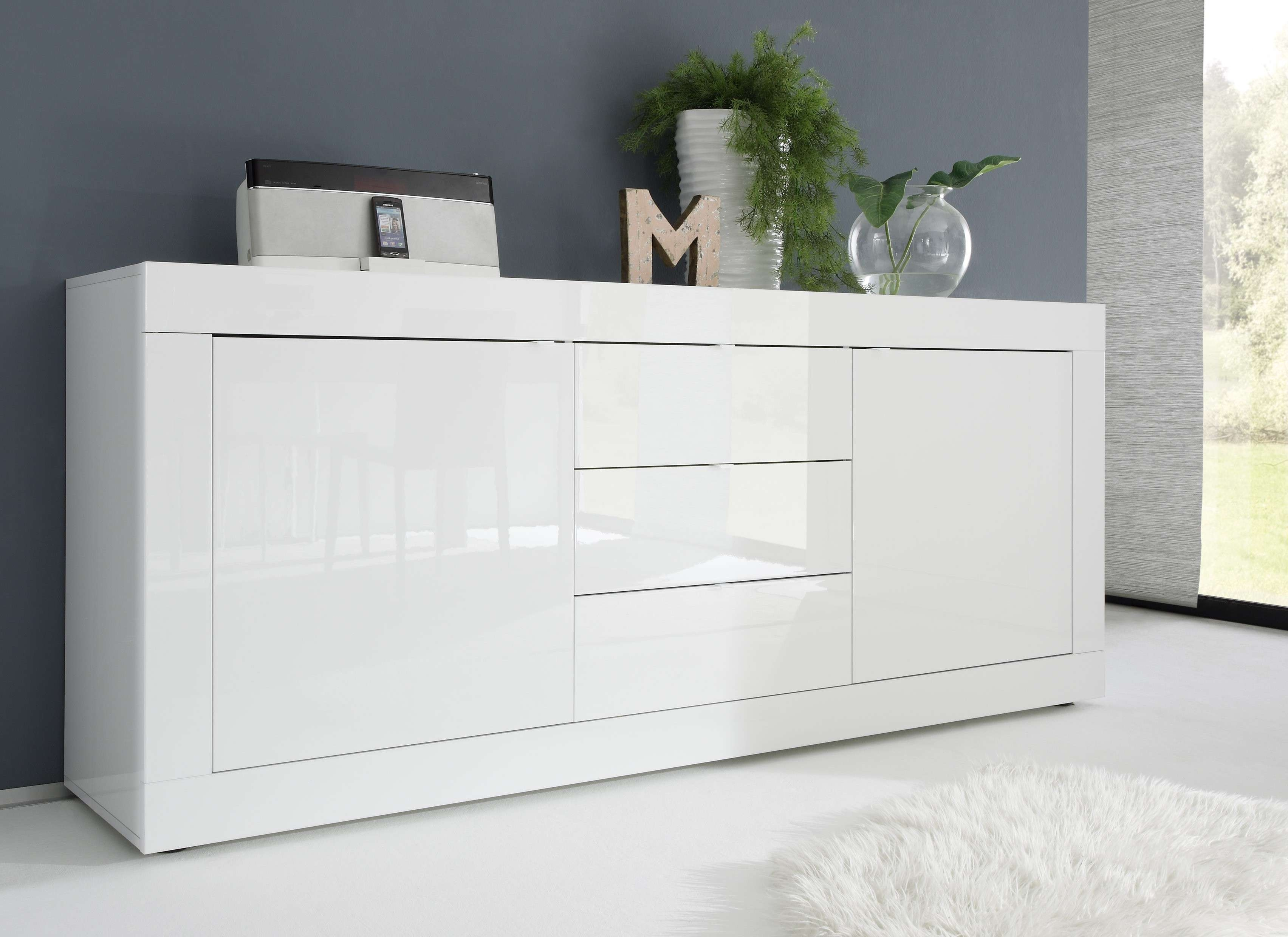 Basic Contemporary White Glossy Lacquer Dining Buffet Lincoln With Modern Buffet Sideboards (View 1 of 20)