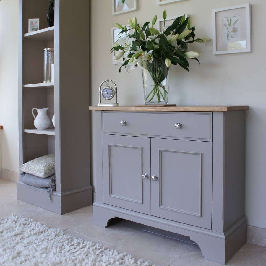 Baslow Slimline Sideboard In Choice Of Colours And Size In Grey Sideboards (View 3 of 20)
