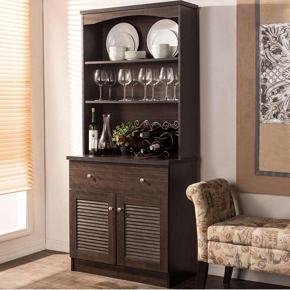 Baxton Studio Agni Dark Brown Wood Buffet With Hutch 28862 6493 Hd Throughout Dark Sideboards (View 3 of 20)