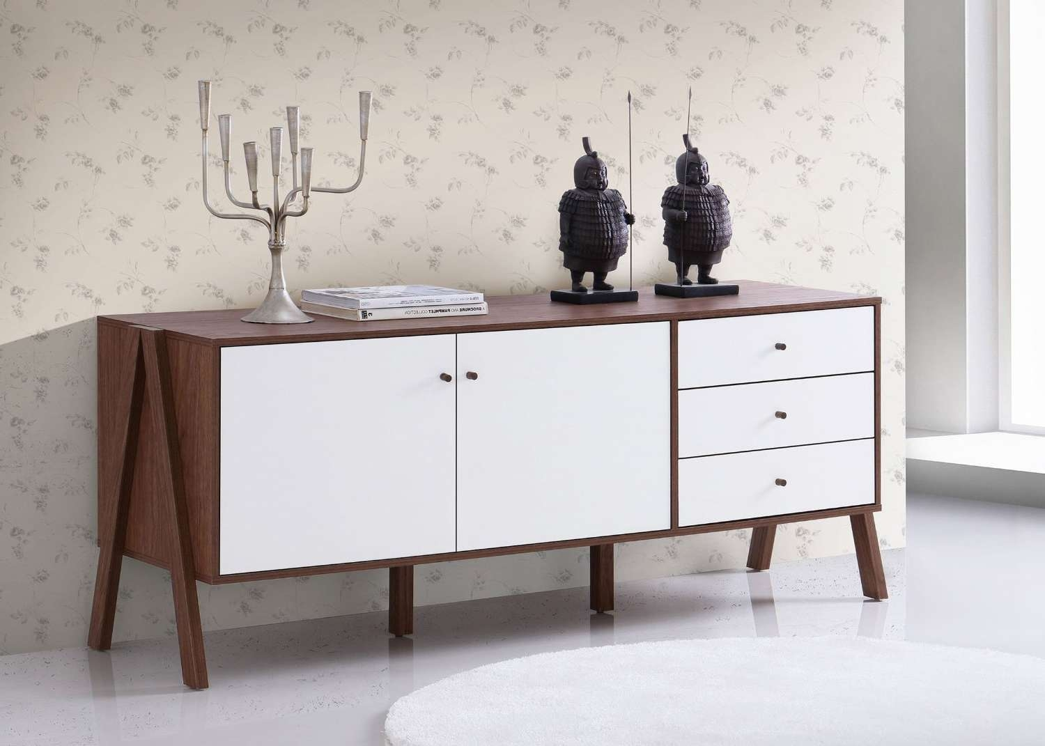 Baxton Studio Harlow Mid Century Modern Scandinavian Style White With Regard To Mid Century Modern Sideboards (View 1 of 20)