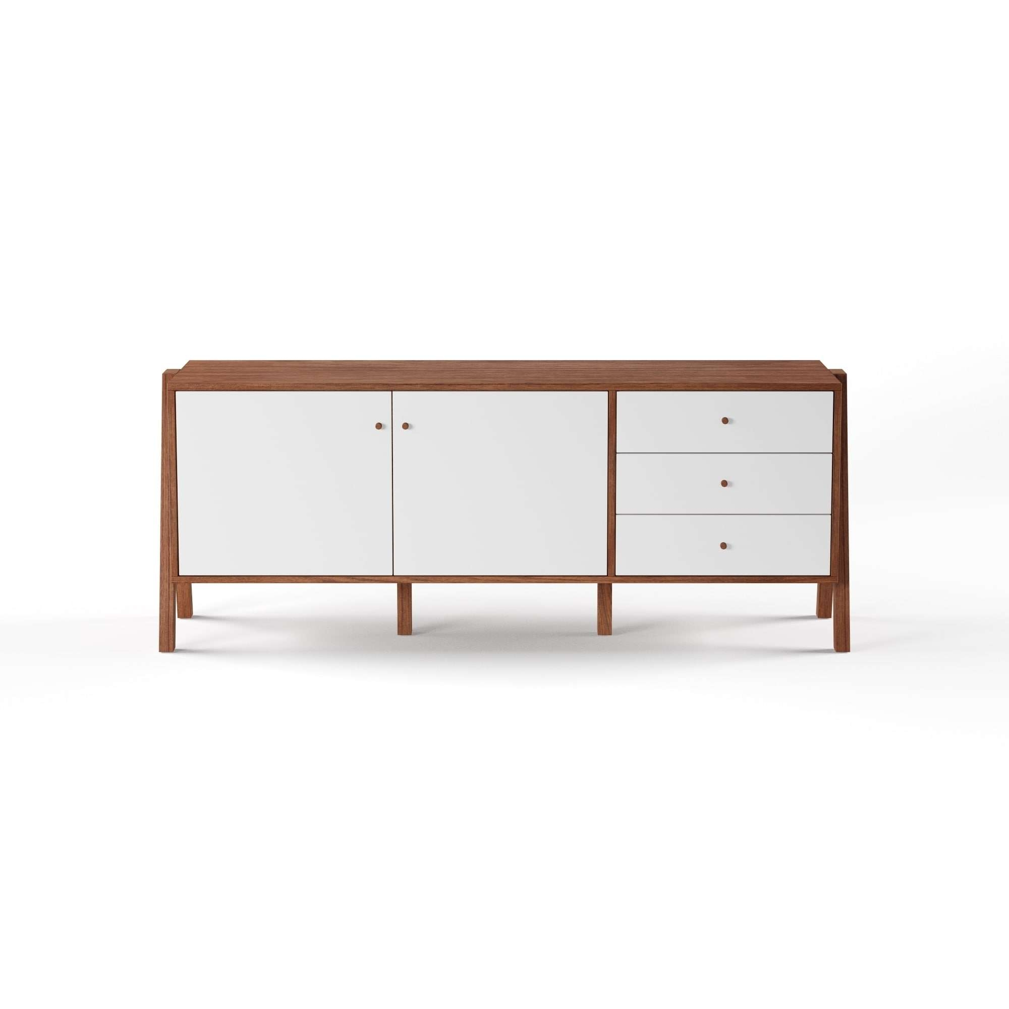 Baxton Studio Harlow Mid Century Modern Scandinavian Style White With Solid Wood Sideboards (View 3 of 20)