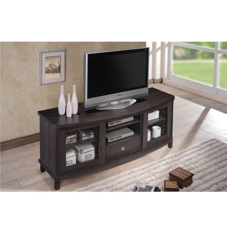 Baxton Studio Vaccaro Contemporary 60 Inch Dark Brown Wood Tv Within Dark Wood Tv Cabinets (View 16 of 20)
