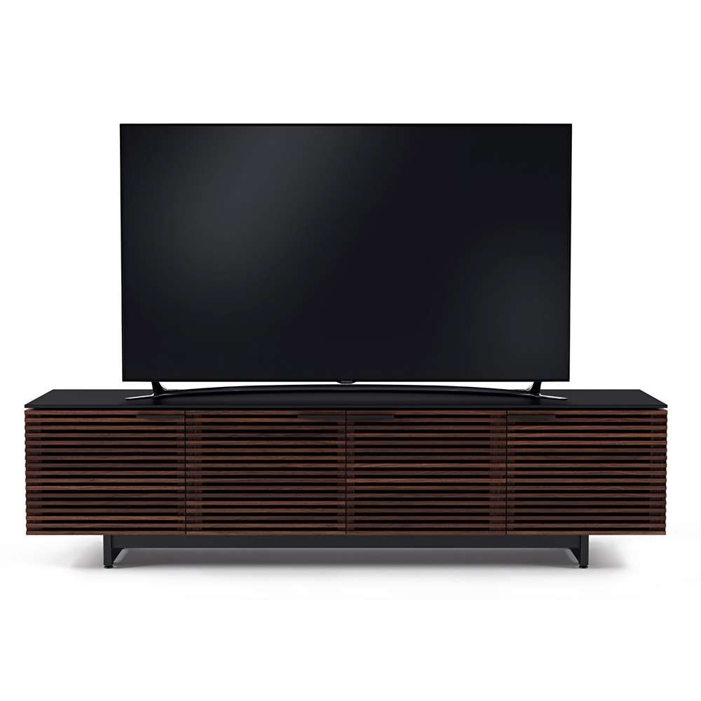 Bdi Corridor 8173 Chocolate / Walnut Louvered Wide Tv Cabinet Inside Wide Tv Cabinets (View 3 of 20)