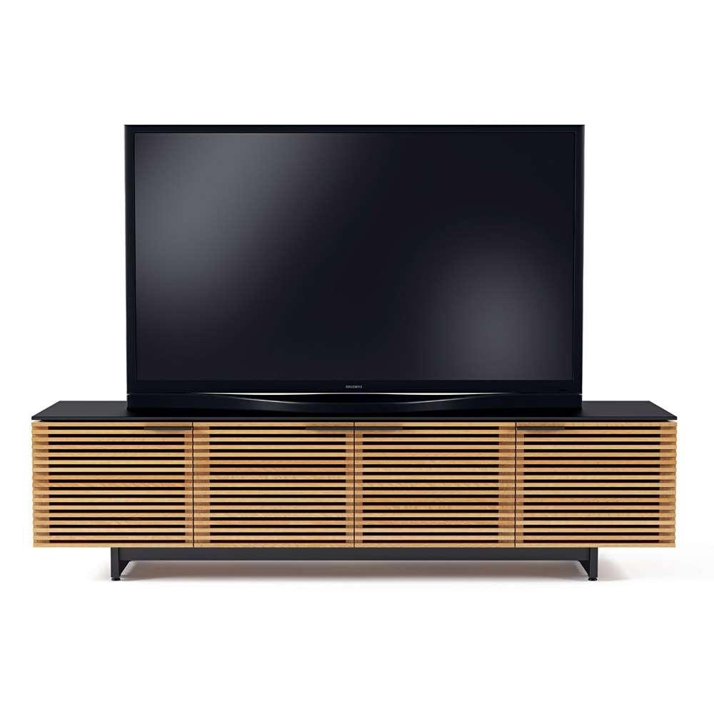 Bdi Corridor 8173 White Oak Louvred Wide Tv Cabinet – Bdi Regarding Wide Tv Cabinets (View 6 of 20)