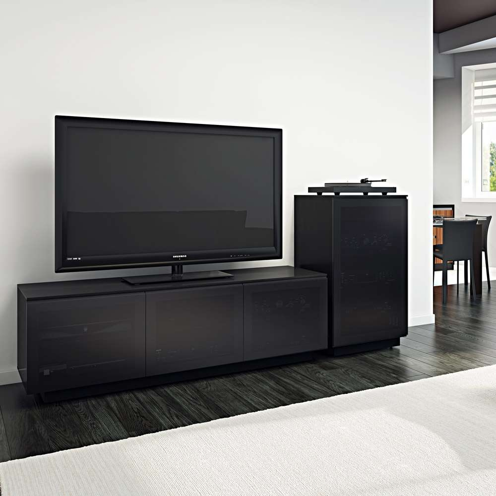 Bdi Mirage 8227 2 Black Large Tv Cabinet – Bdi – Audiovisual Pertaining To Large Tv Cabinets (View 10 of 20)
