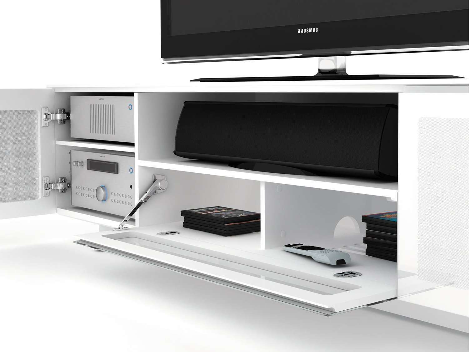 Bdi Nora 8239 W Tv Stands Inside Gloss White Tv Cabinets (View 1 of 20)