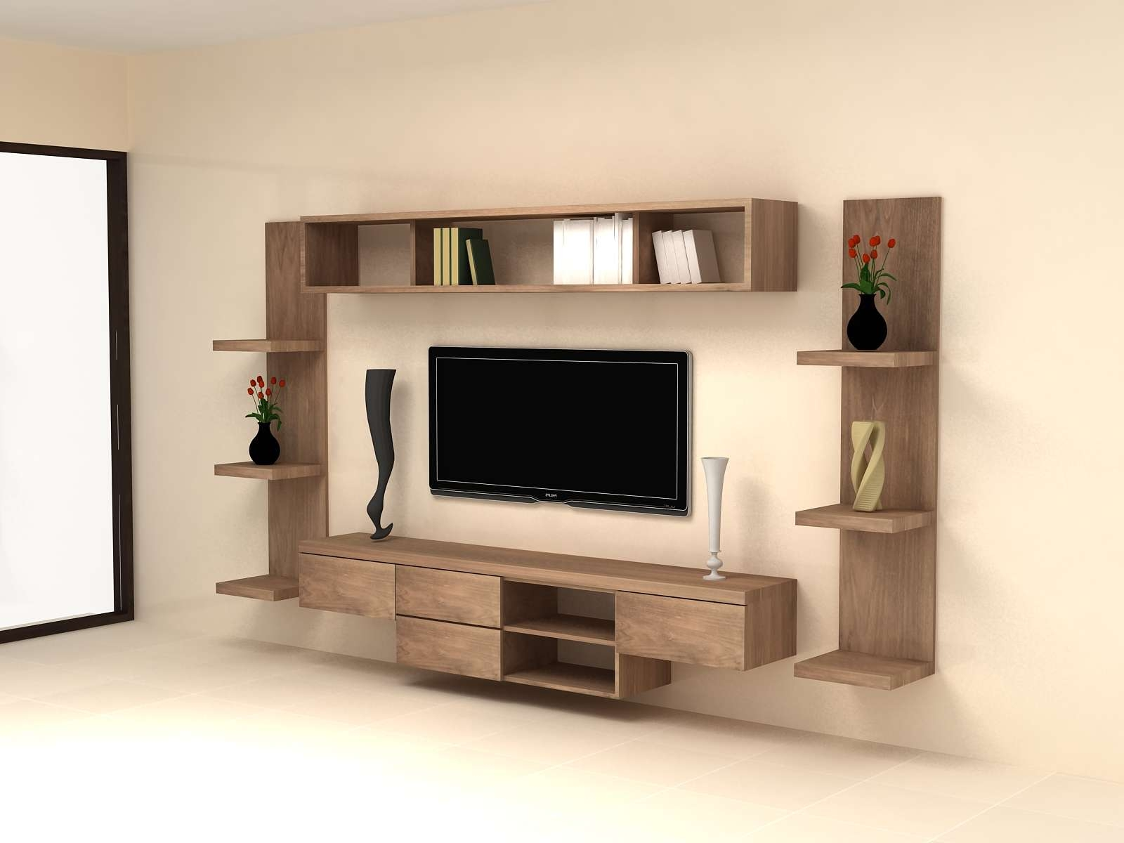Bedroom : Tv Wall Unit Designs Tv Stand Unit Thin Tv Stand Wall For Tv Cabinets Contemporary Design (View 13 of 20)