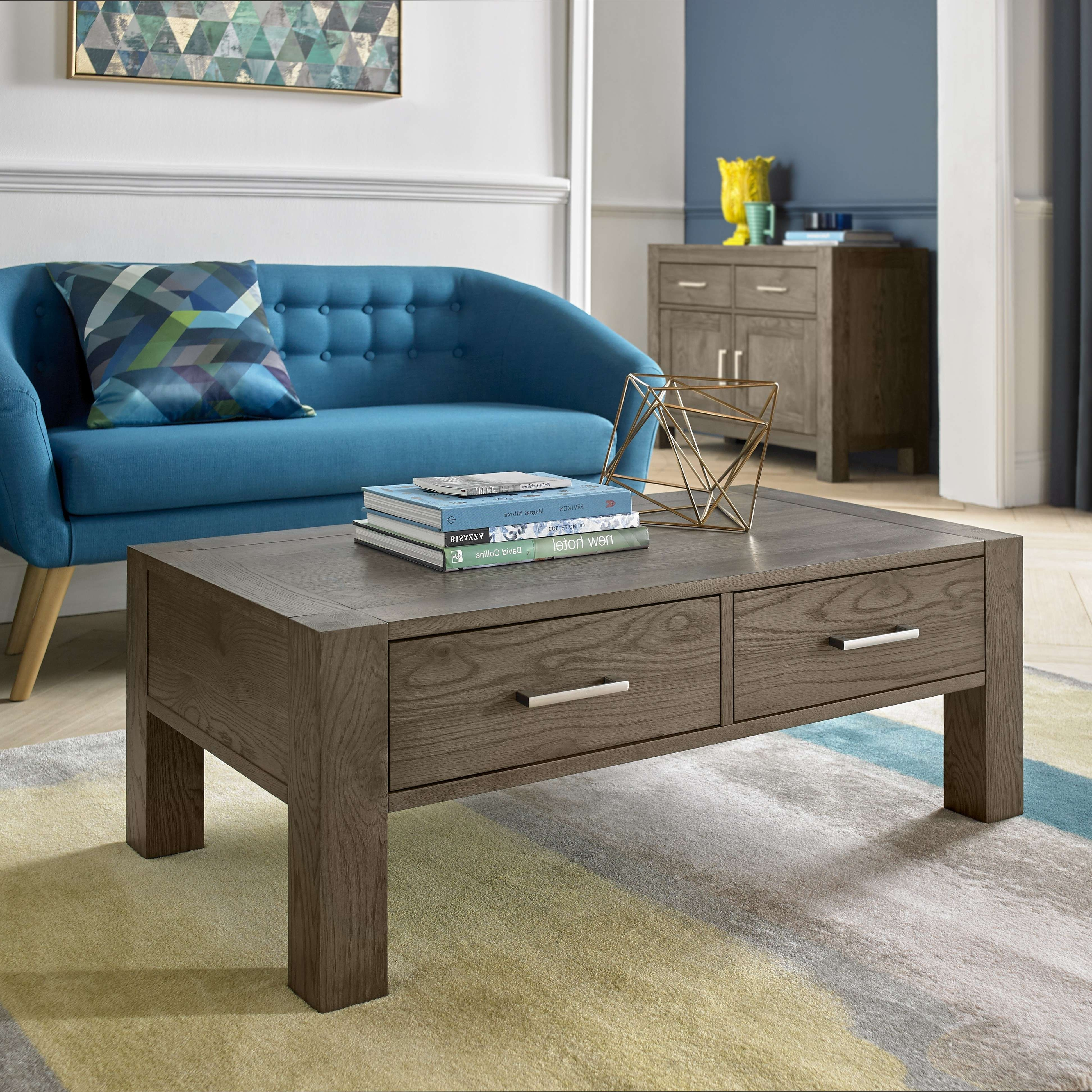 Bentley Designs Turin Dark Oak Coffee Table With Drawers – Style Throughout Most Up To Date Dark Oak Coffee Tables (View 4 of 20)