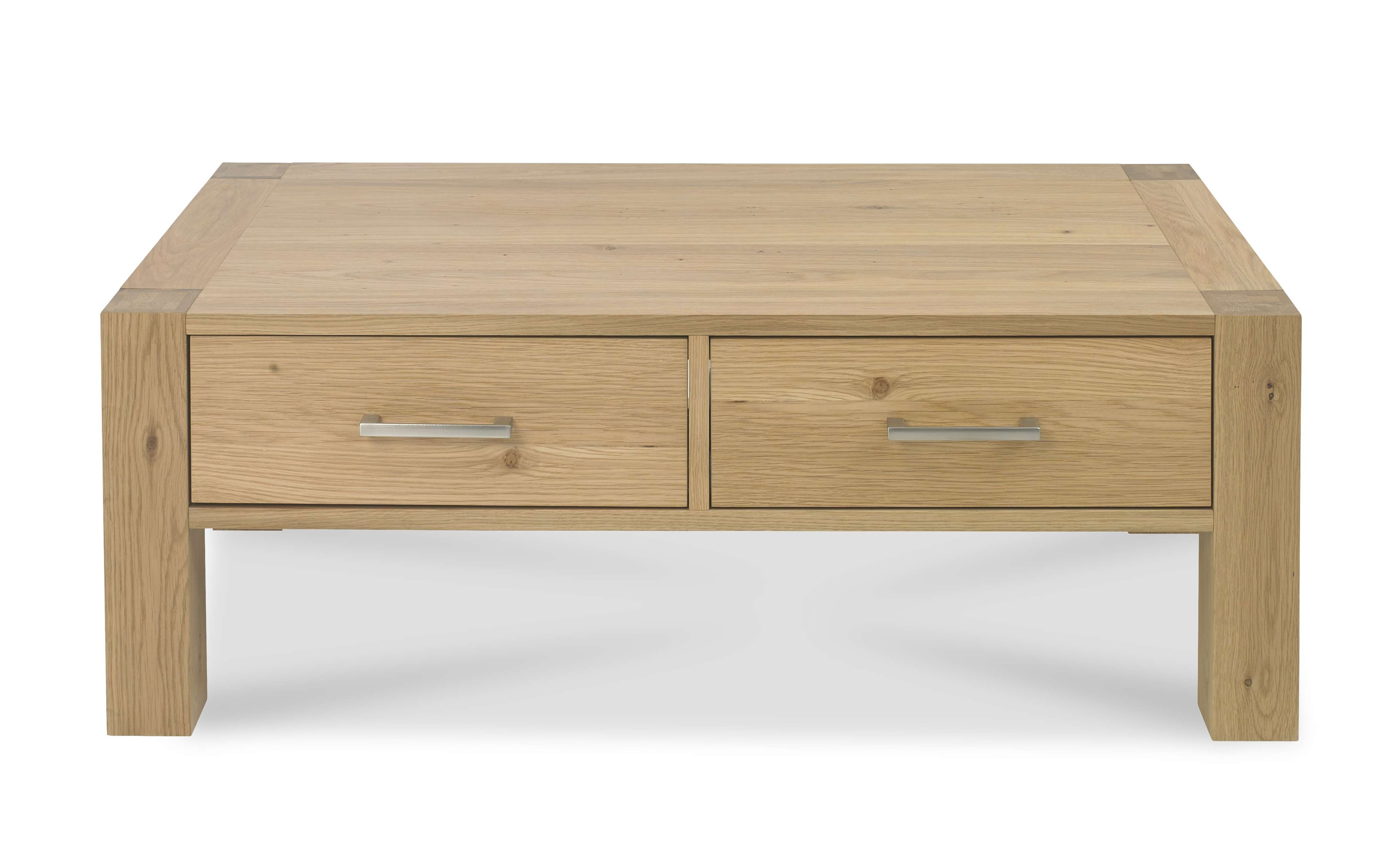 Bentley Designs Turin Light Oak Coffee Table With Drawers – Style With Fashionable Light Oak Coffee Tables With Drawers (View 1 of 20)