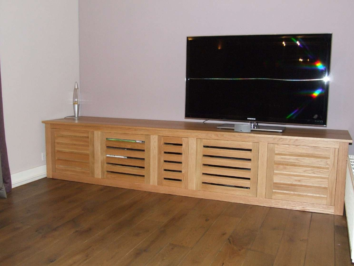 Bespoke Oak Tv Cabinet With Louvered Doors Pertaining To Oak Tv Cabinets With Doors (View 1 of 20)