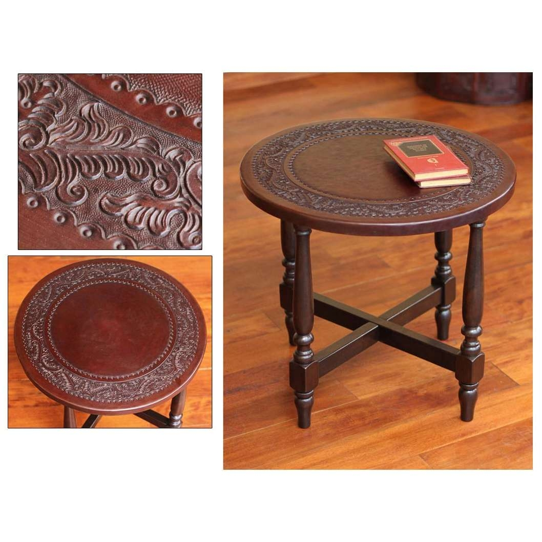 Best And Newest Colonial Coffee Tables Throughout Colonial Guard Artisan Handmade Hand Tooled Leather Brown Mohena (View 2 of 20)