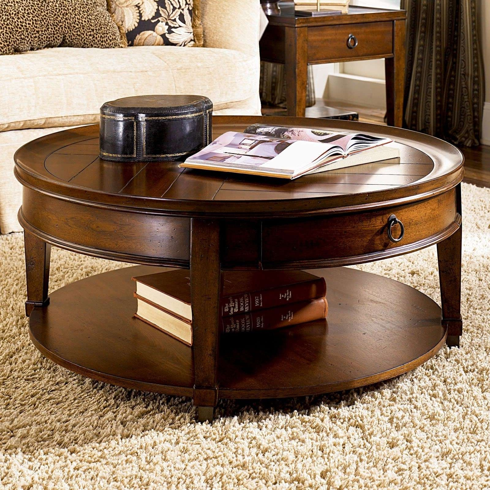 Best And Newest Dark Wood Round Coffee Tables Within Dark Brown Rustic Wooden Round Coffee Table Sets With Storage And (View 2 of 20)