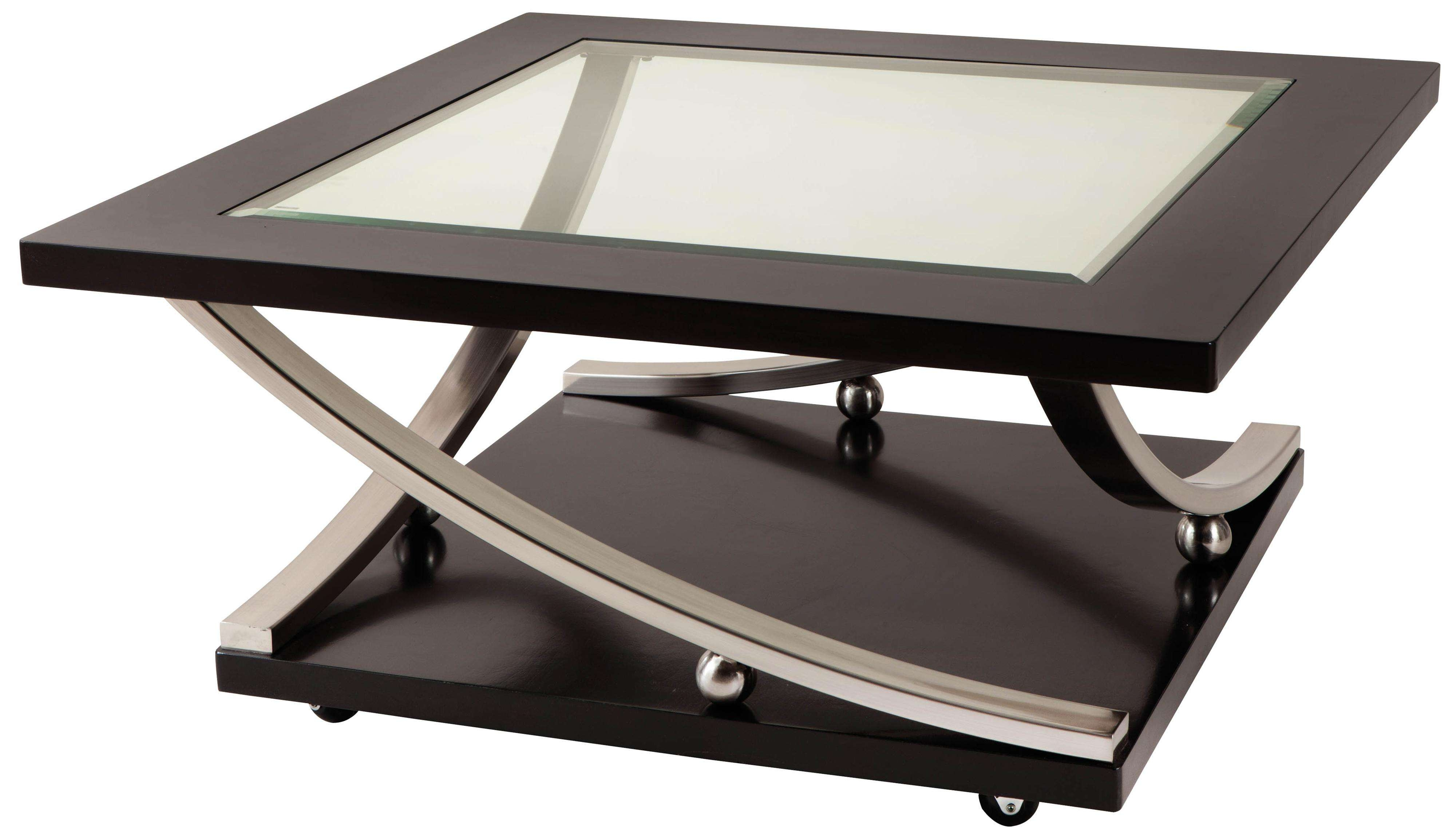 Best And Newest Glass Coffee Tables With Casters Within Square Glass Top Cocktail Table With Castersstandard Furniture (View 5 of 20)