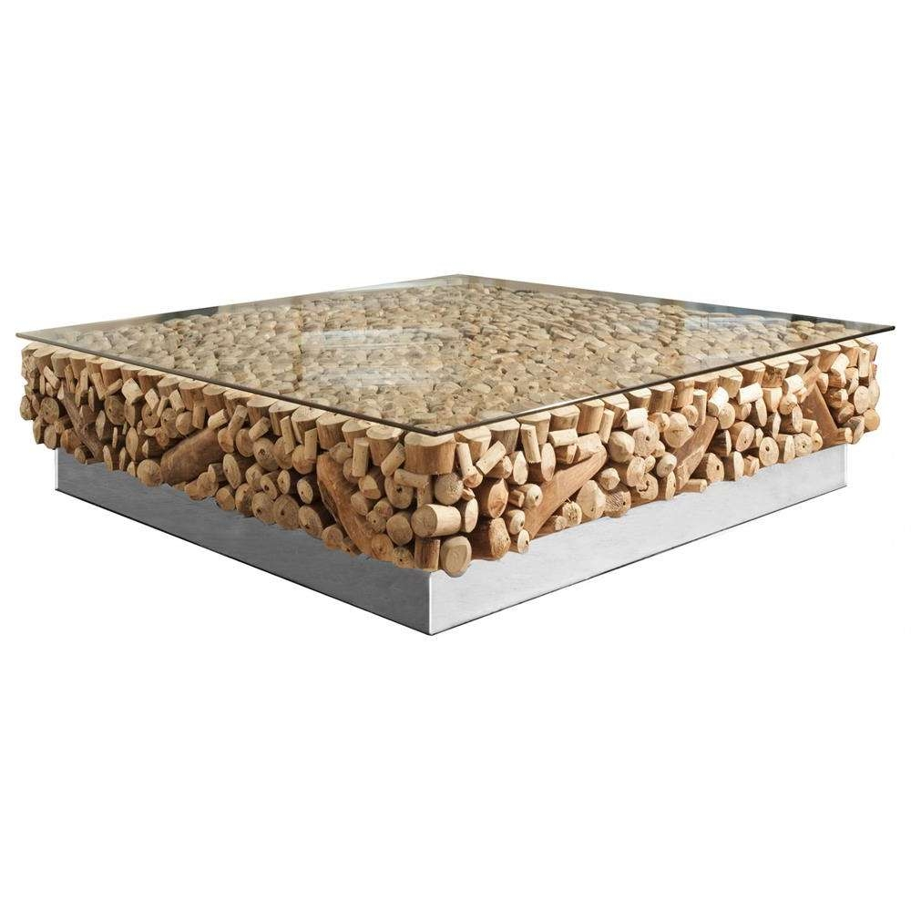 Best And Newest Glass Steel Coffee Tables With Bradford Rustic Lodge Driftwood Glass Steel Base Coffee Table (View 2 of 20)
