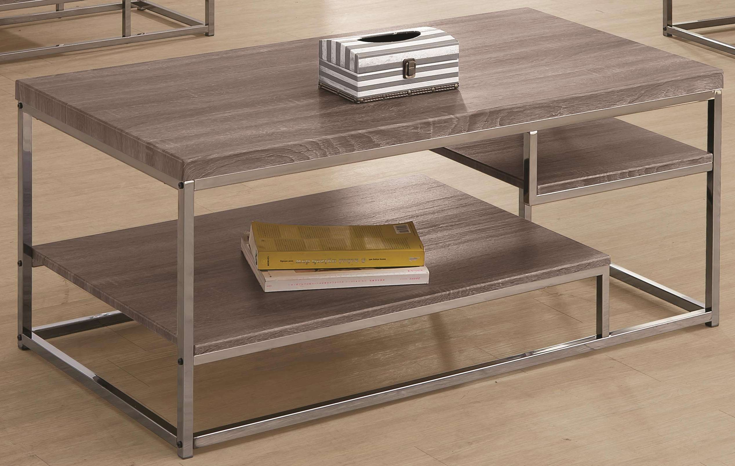 Best And Newest Grey Coffee Table Sets Throughout Coaster 7037 703728 2 Shelf Coffee Table With Wood Top And Chrome (View 3 of 20)