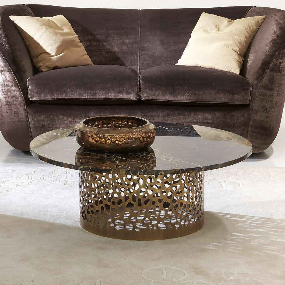 Best And Newest Italian Coffee Tables In Italian Laser Cut Bronzed Metal Round Marble Coffee Table (View 2 of 20)