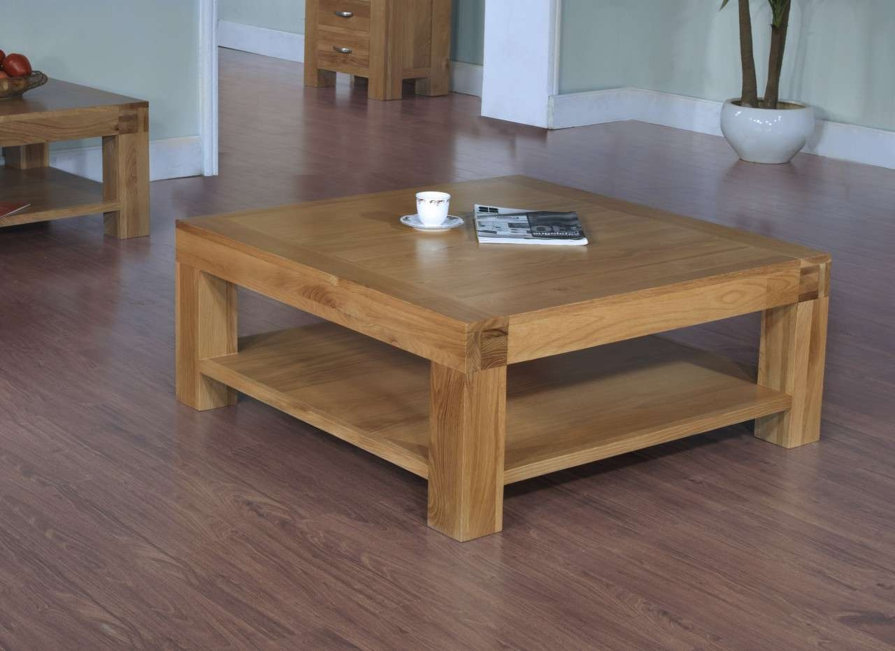 Best And Newest Large Square Oak Coffee Tables Throughout Oak Coffee Table With Shelf / Coffee Tables / Thippo (View 10 of 20)