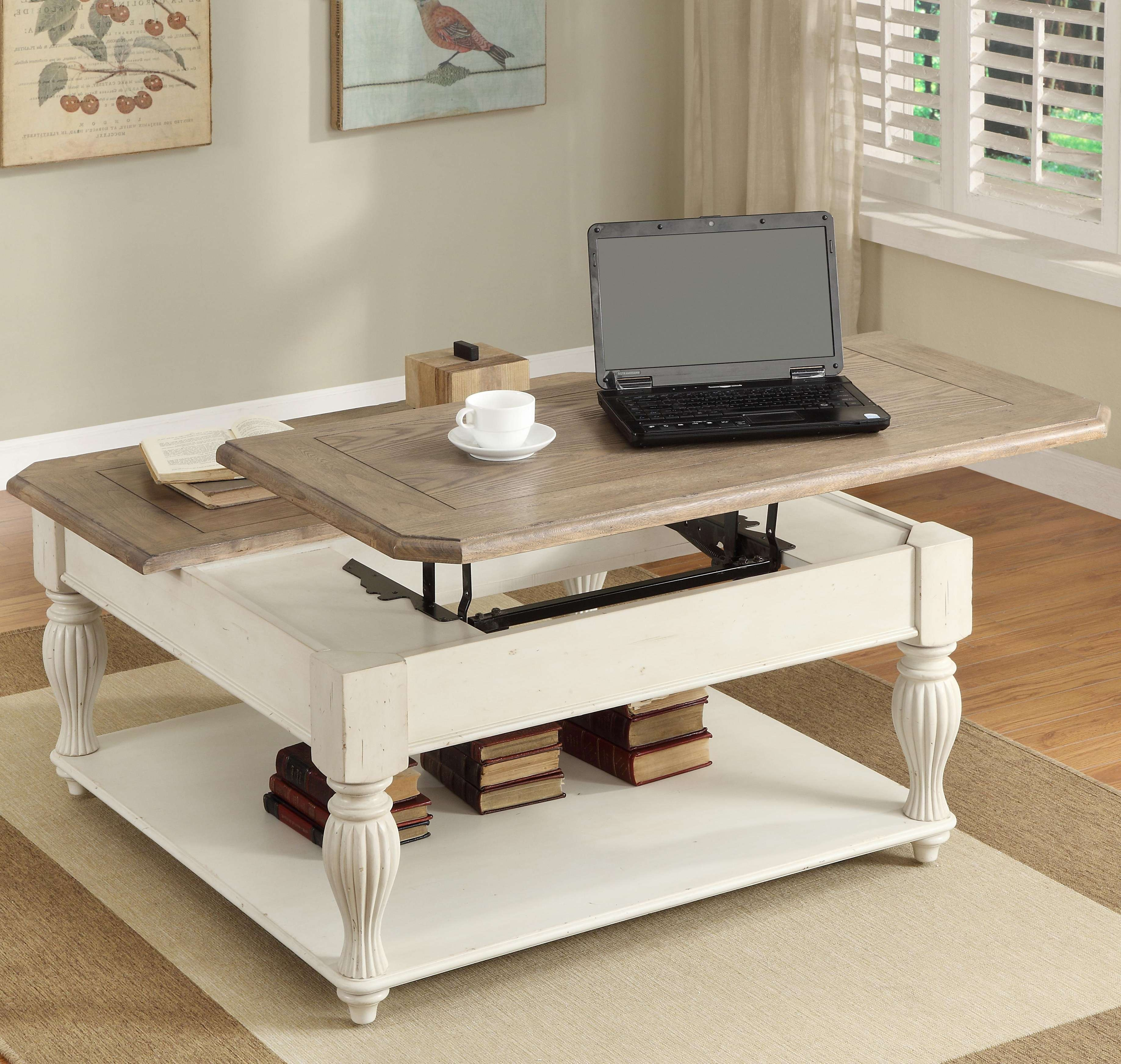 Best And Newest Lift Top Coffee Tables With Storage Throughout Square Lift Top Coffee Table With Fixed Bottom Shelfriverside (View 4 of 20)