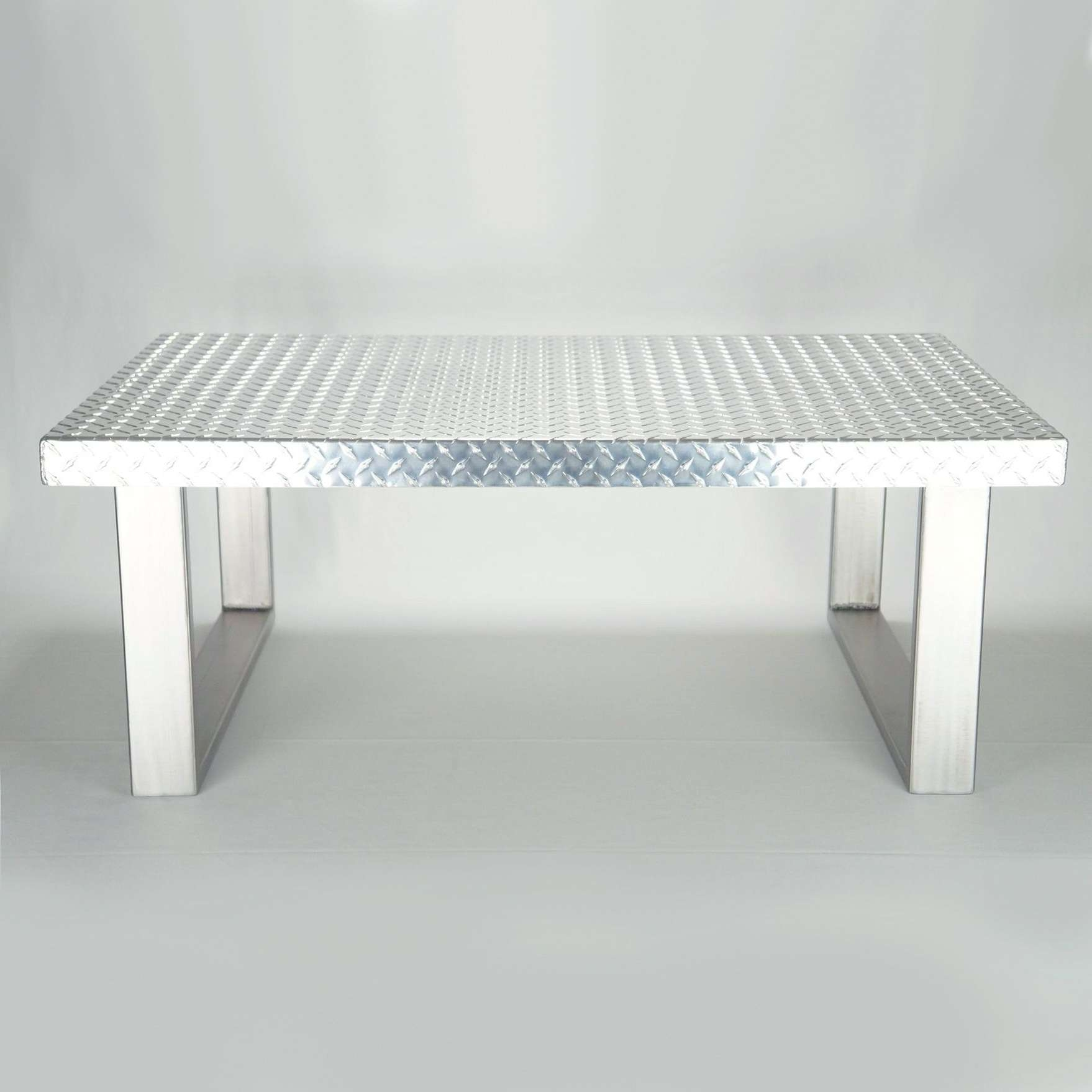 Best And Newest Metal Coffee Tables Inside Hand Made Industrial Diamond Plate Metal Coffee Tableck (View 5 of 20)