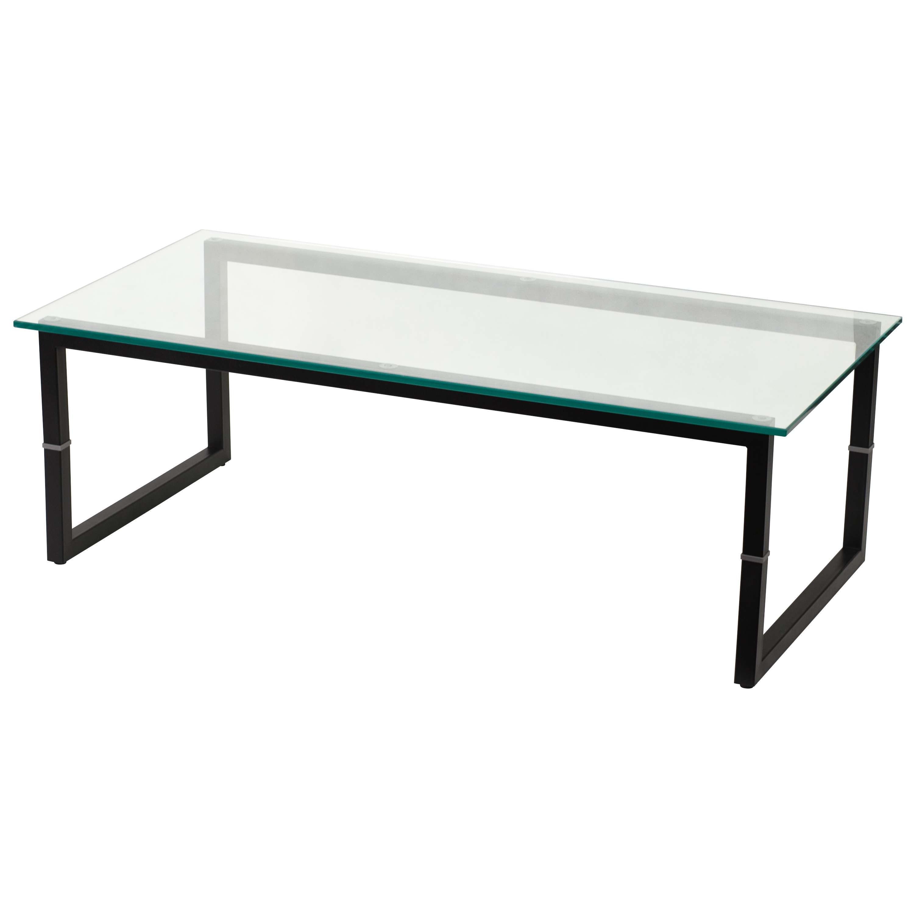 Best And Newest Metal Coffee Tables With Glass Top Regarding Glass Top Pompidou Metal & Glass Coffee Table Large Industrial (View 3 of 20)