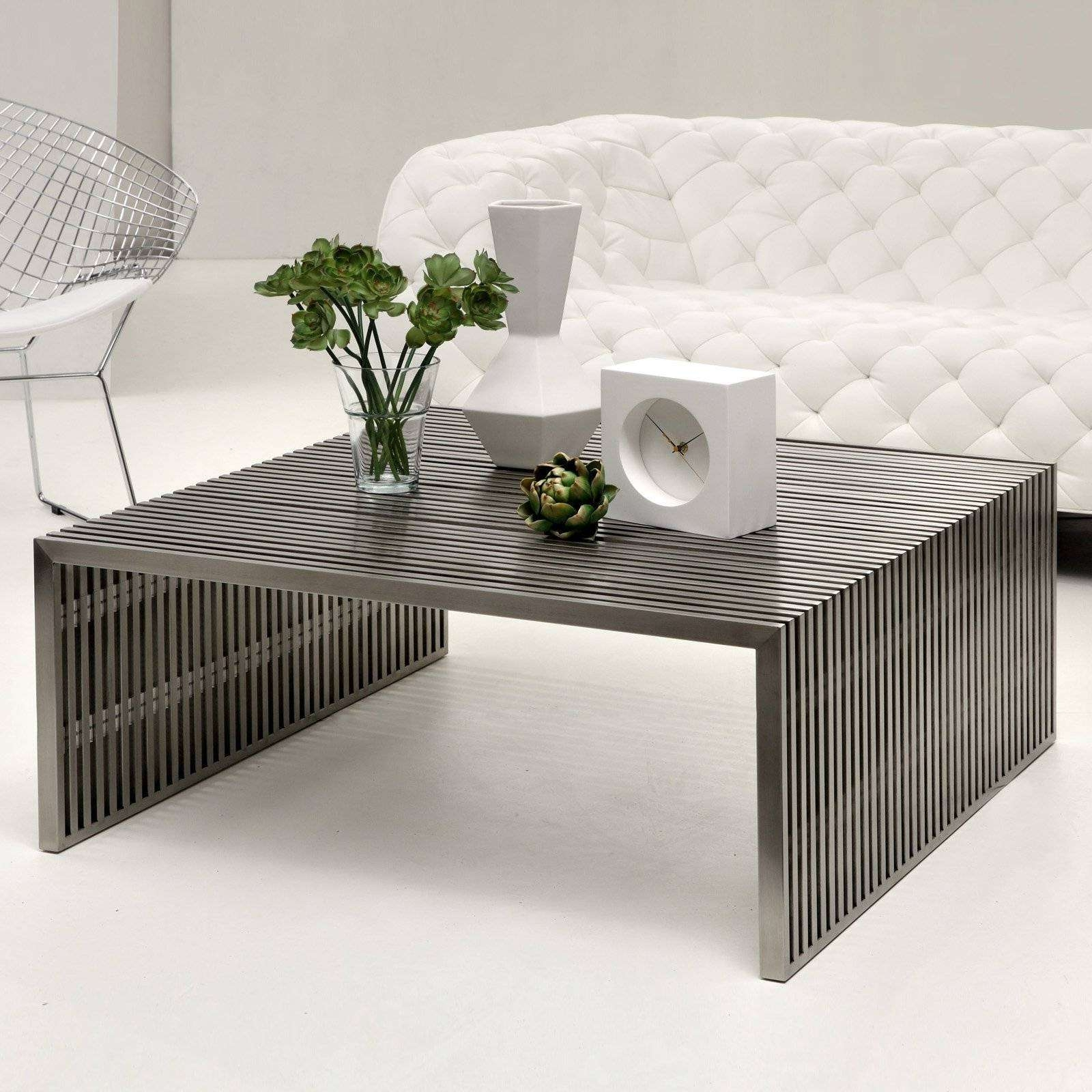 Best And Newest Metal Square Coffee Tables With Regard To Furniture & Organization: Modern Metal Square Coffee Tables For (View 2 of 20)
