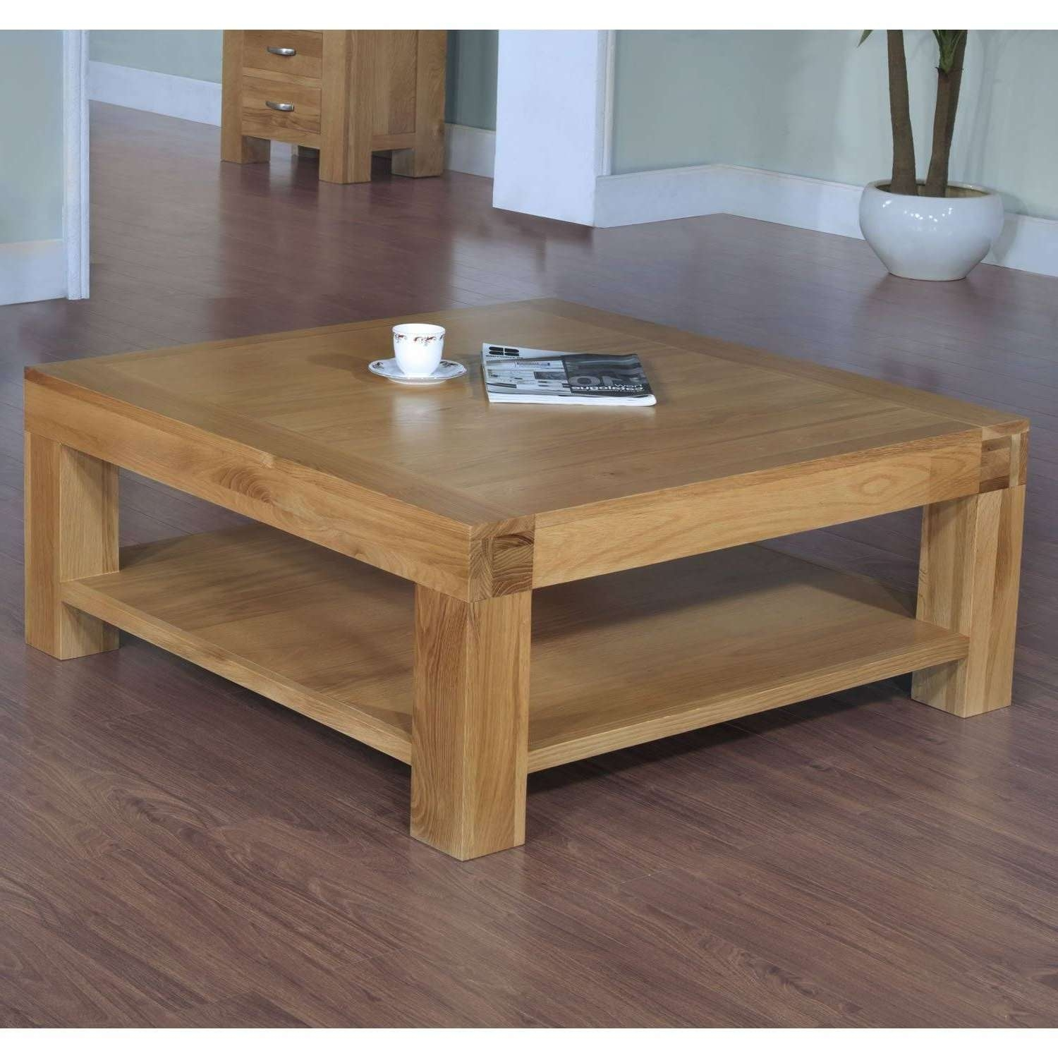 Square Glass And Oak Coffee Table: Krusin Square Coffee Table In Oak With Glass Top