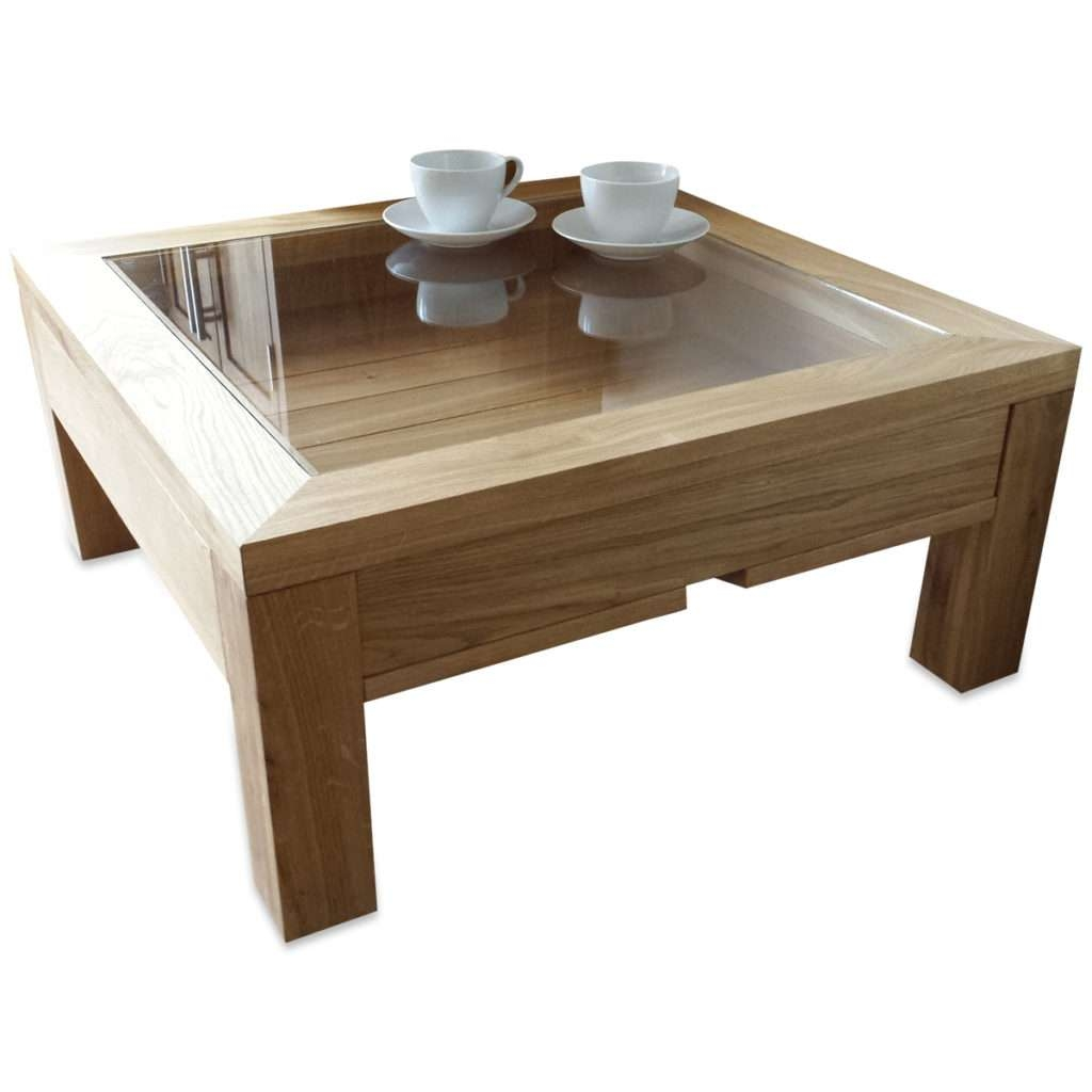 Best And Newest Oak Coffee Table With Glass Top Pertaining To Coffee Table : Coffee Table Display Glass Oak Wood Modern Square (View 1 of 20)