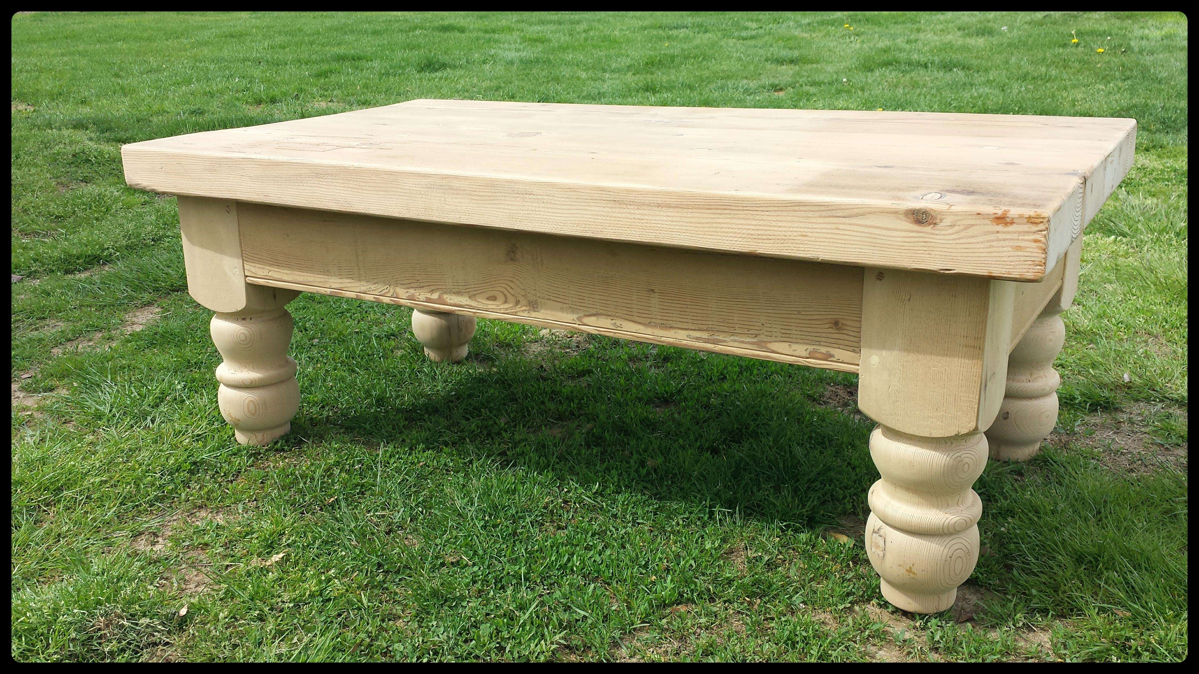 Best And Newest Old Pine Coffee Tables With Chunky Unfinished Reclaimed Pine Coffee Table – Old Barn Star (View 7 of 20)