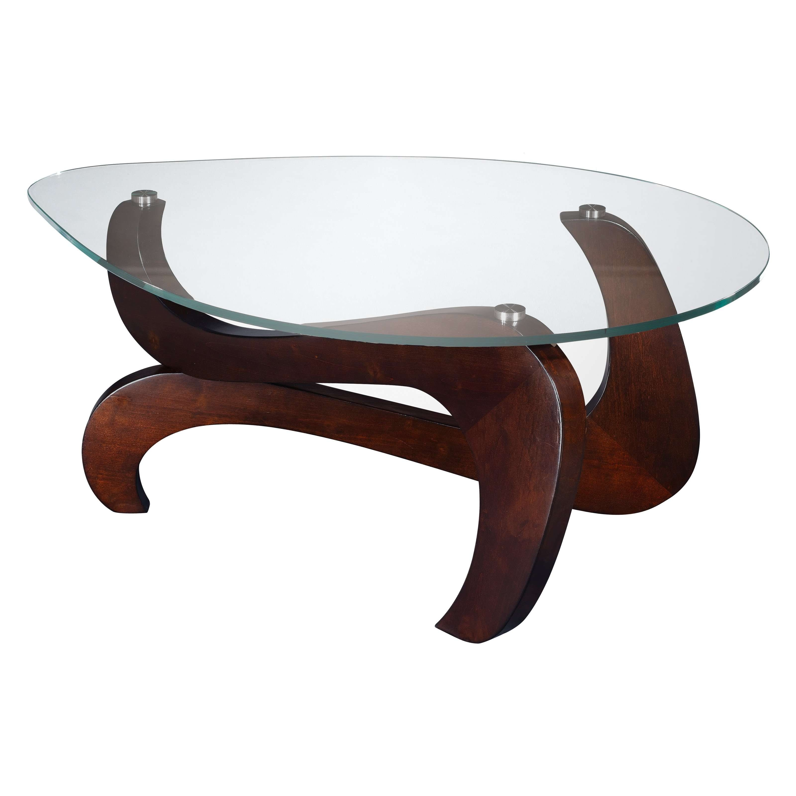 Best And Newest Oval Shaped Glass Coffee Tables Regarding Decorations : Furniture Tear Drop Shape Glass Top With Brown High (View 6 of 20)