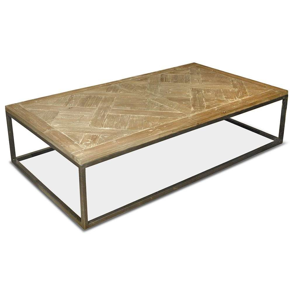 Best And Newest Reclaimed Oak Coffee Tables With Stevenson Rustic Lodge White Wash Reclaimed Pine Metal Coffee (View 4 of 20)