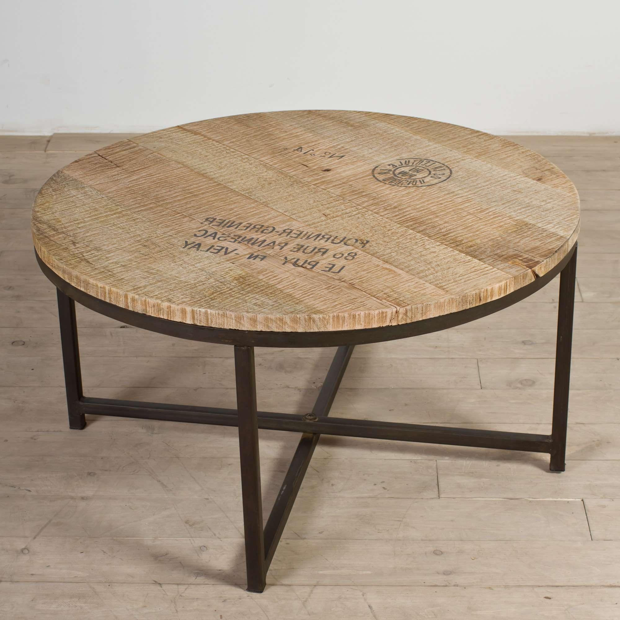 Best And Newest Round Glass And Wood Coffee Tables Pertaining To Industrial Coffee Table With Round Reclaimed Wooden Top And Metal (View 3 of 20)