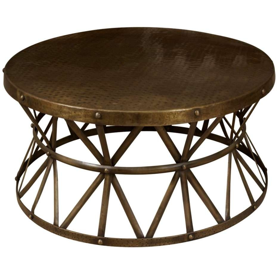 Best And Newest Round Metal Coffee Tables With Round Cocktail Table Brown Gold Metal Round Coffee Table With (View 2 of 20)