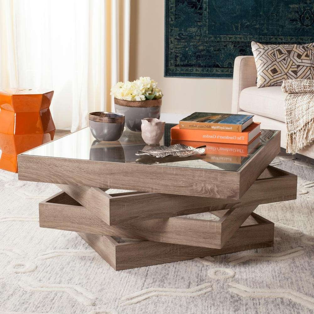 Best And Newest Safavieh Coffee Tables Regarding Safavieh Anwen Mid Century Geometric Wood Light Gray Coffee Table (View 20 of 20)