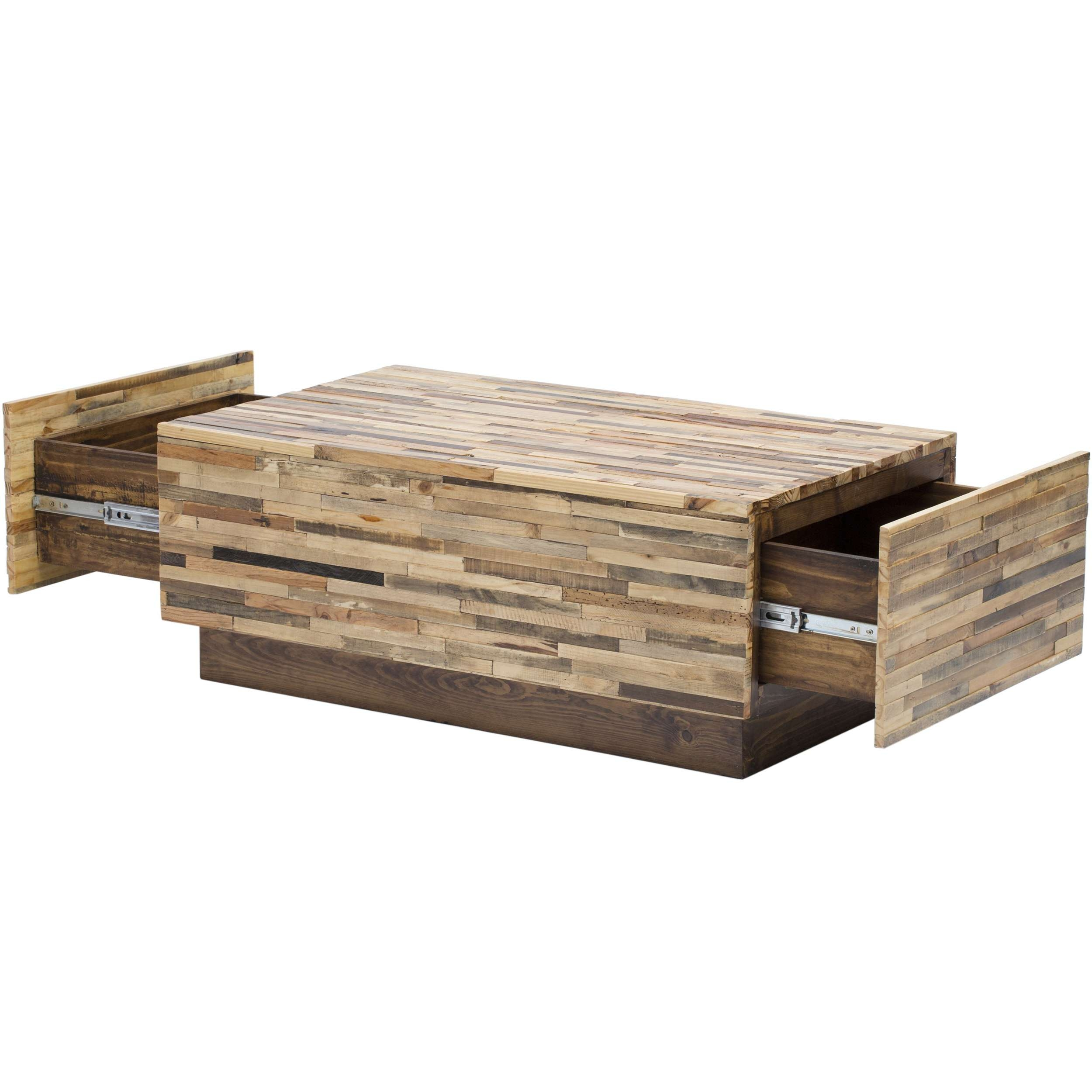 Best And Newest Square Storage Coffee Table Intended For Picturesque Double Drawer Storage Reclaimed Wood Coffee Table With (View 3 of 20)