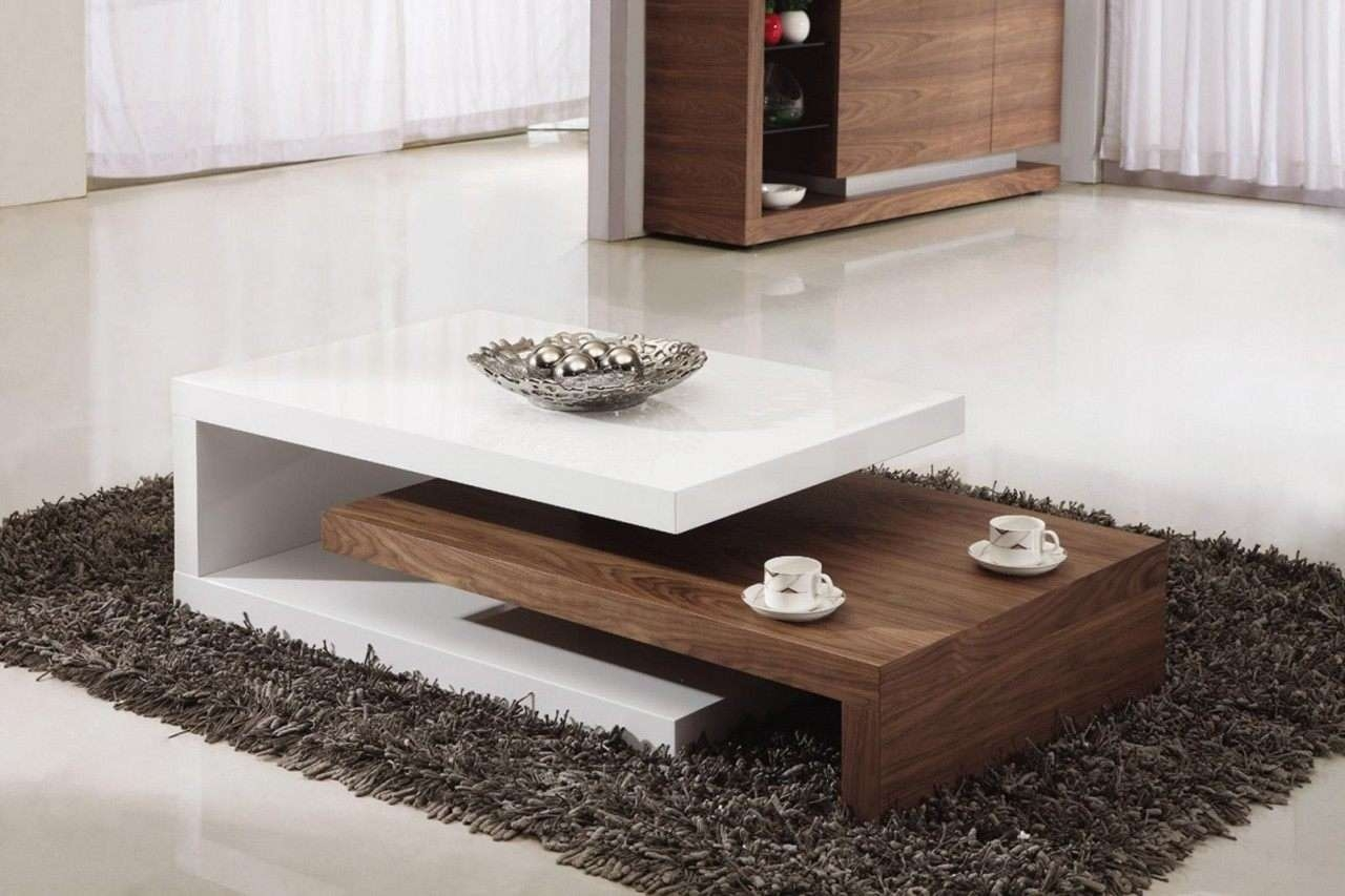 Best And Newest Stylish Coffee Tables Inside Coffee Tables For Living Room Red And Brown Plywood Painted Floor (View 1 of 20)