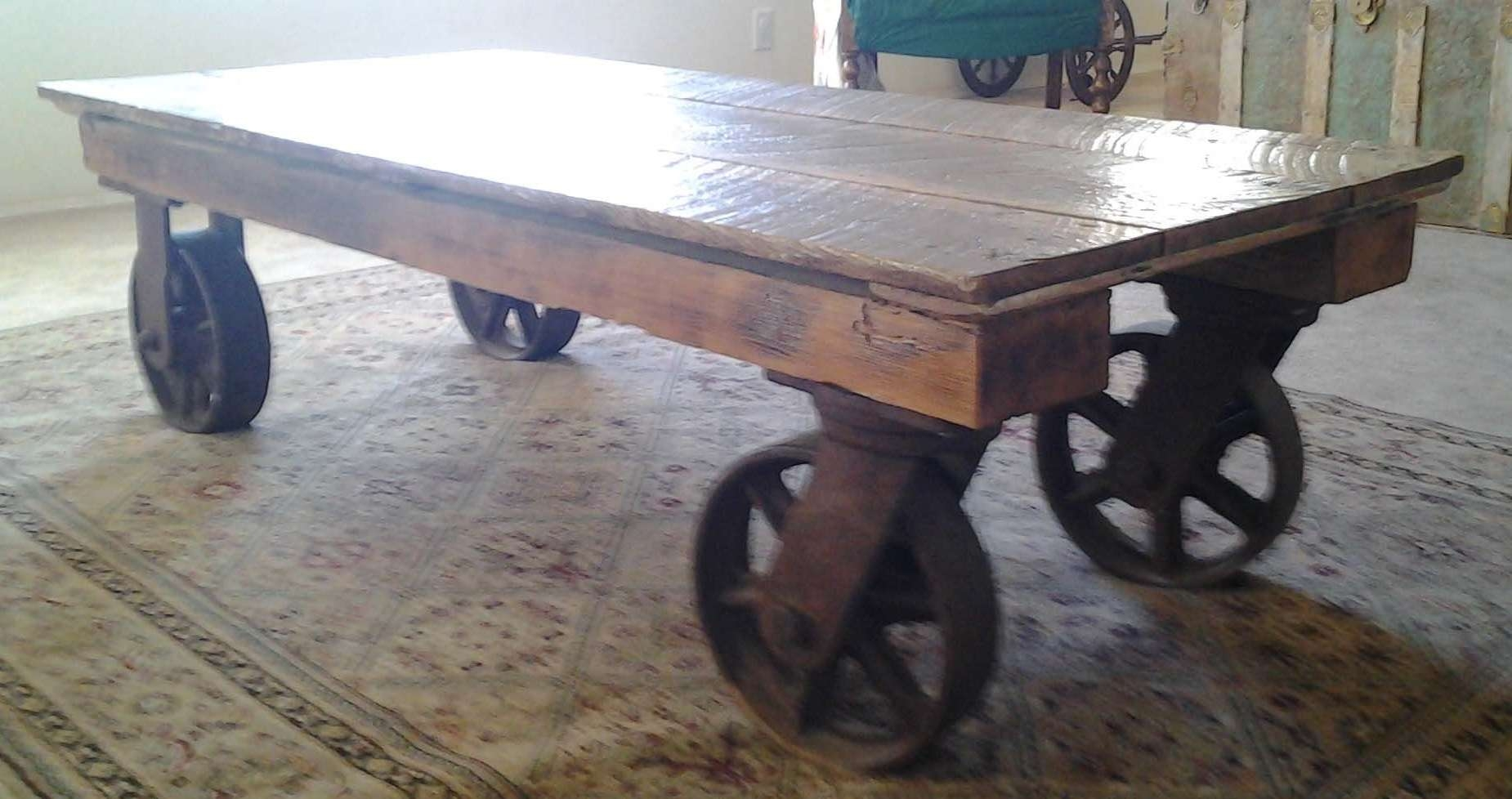 Best And Newest Wheels Coffee Tables In Coffee Tables : Unique Industrial Coffee Table On Wheels About (View 5 of 20)