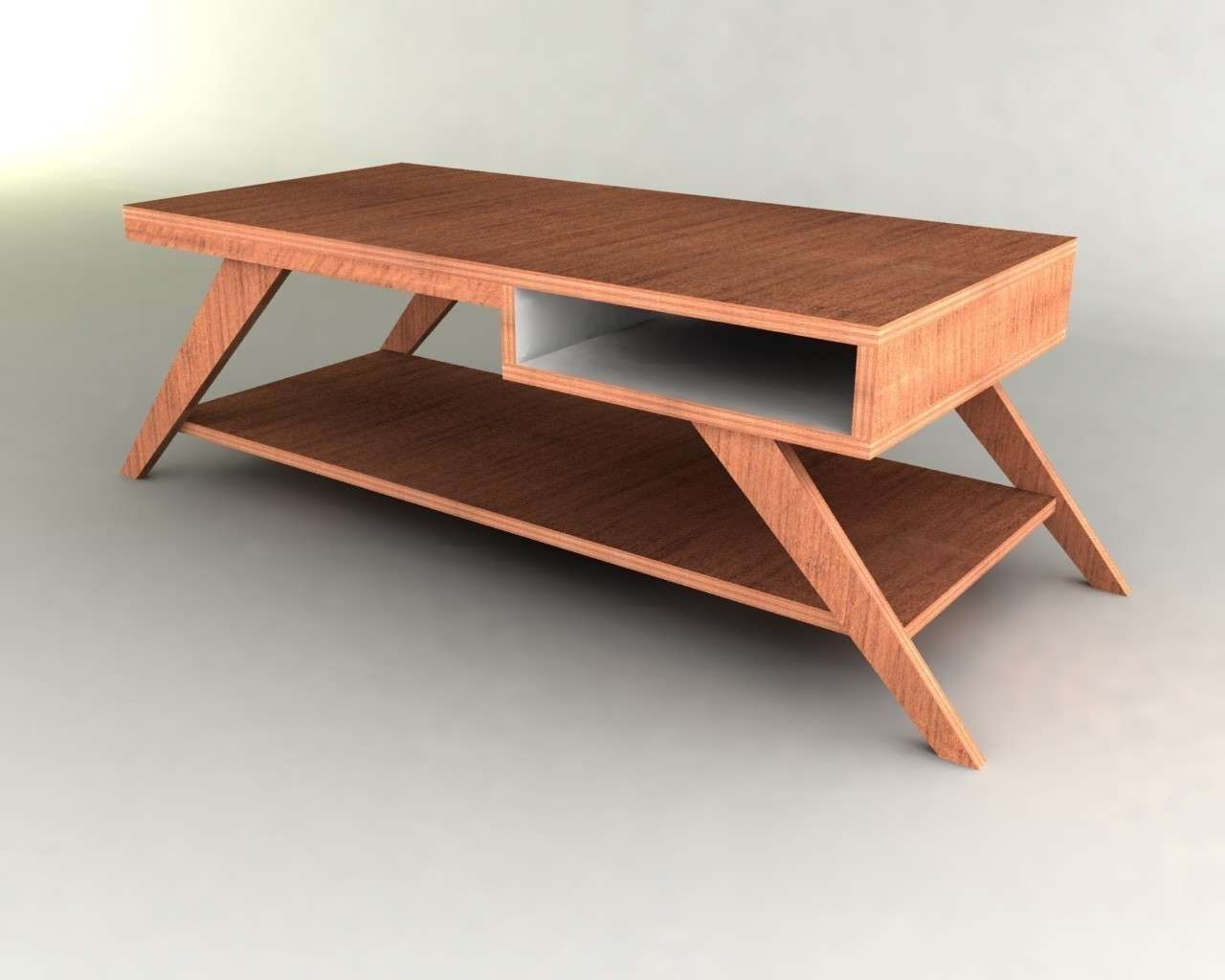 Best And Newest Wood Modern Coffee Tables Intended For Retro Modern Eames Style Coffee Table Furniture Plan (View 2 of 20)
