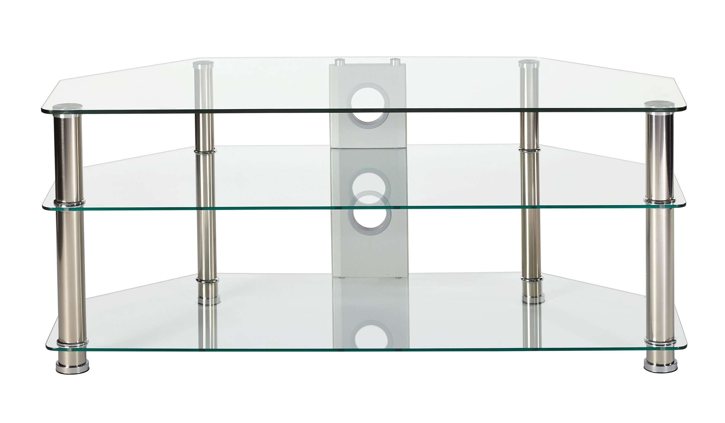 Best Clear Glass Stand For Up To 55 Inch Tv With Chrome Legs Within Glass Tv Cabinets (View 2 of 20)